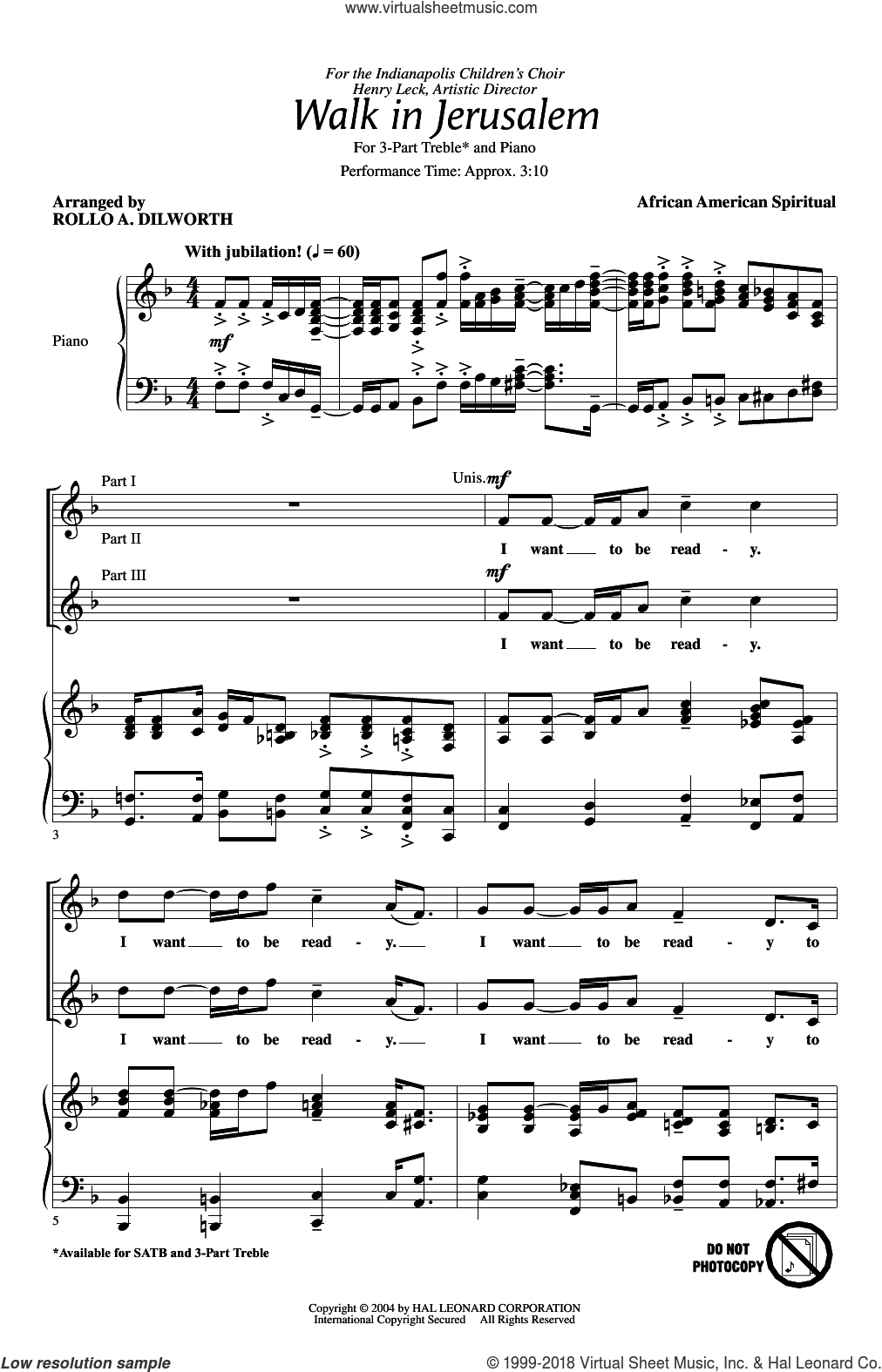 Walk In Jerusalem, Just Like John sheet music for choir (chamber ensemble) by Rollo Dilworth. Score Image Preview.