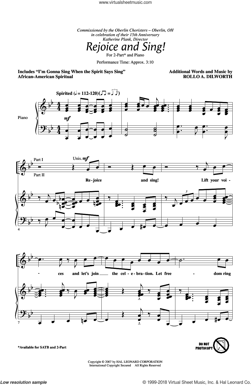 Rejoice And Sing! sheet music for choir (duets) by Rollo Dilworth. Score Image Preview.