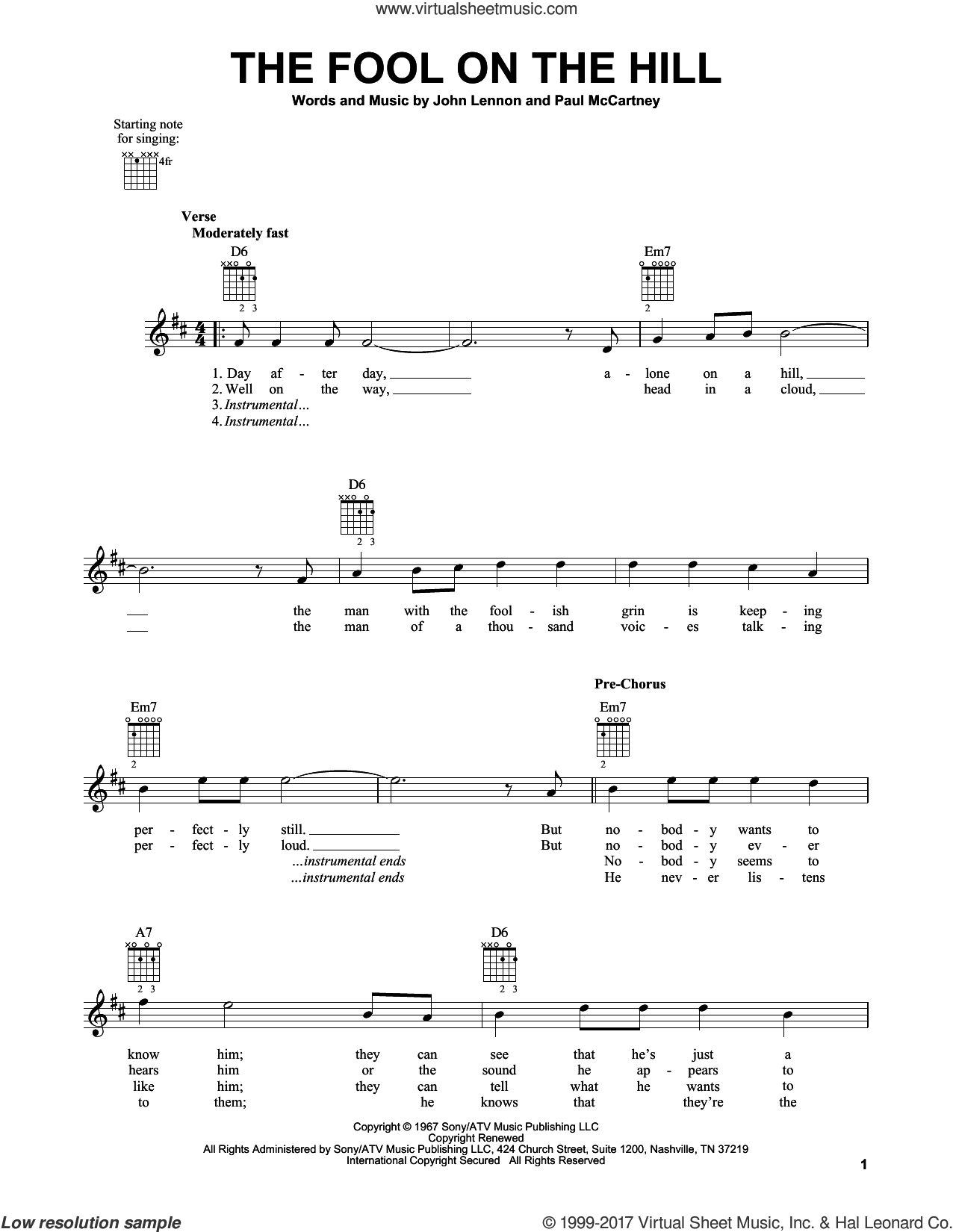 The Fool On The Hill sheet music for guitar solo (chords) by The Beatles, John Lennon and Paul McCartney, easy guitar (chords)