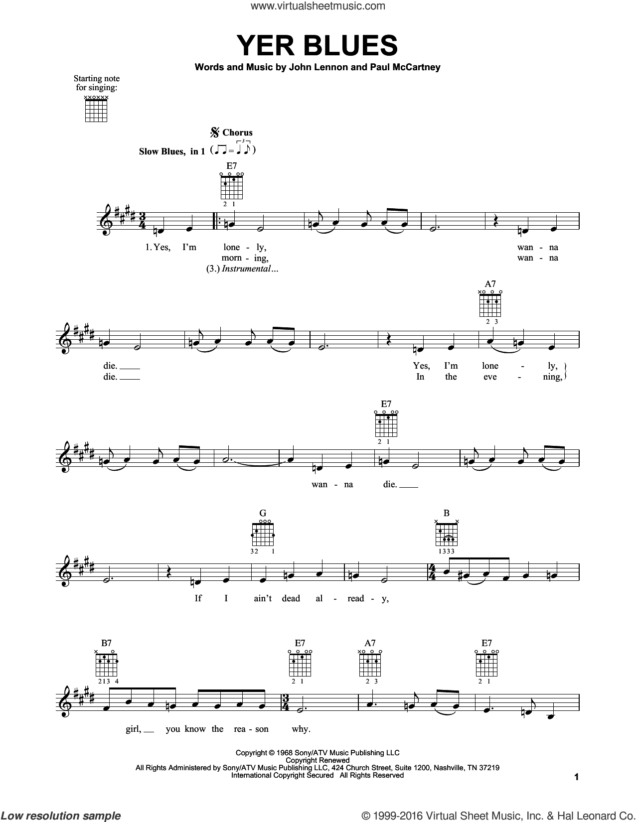 Yer Blues sheet music for guitar solo (chords) by The Beatles, John Lennon and Paul McCartney, easy guitar (chords)