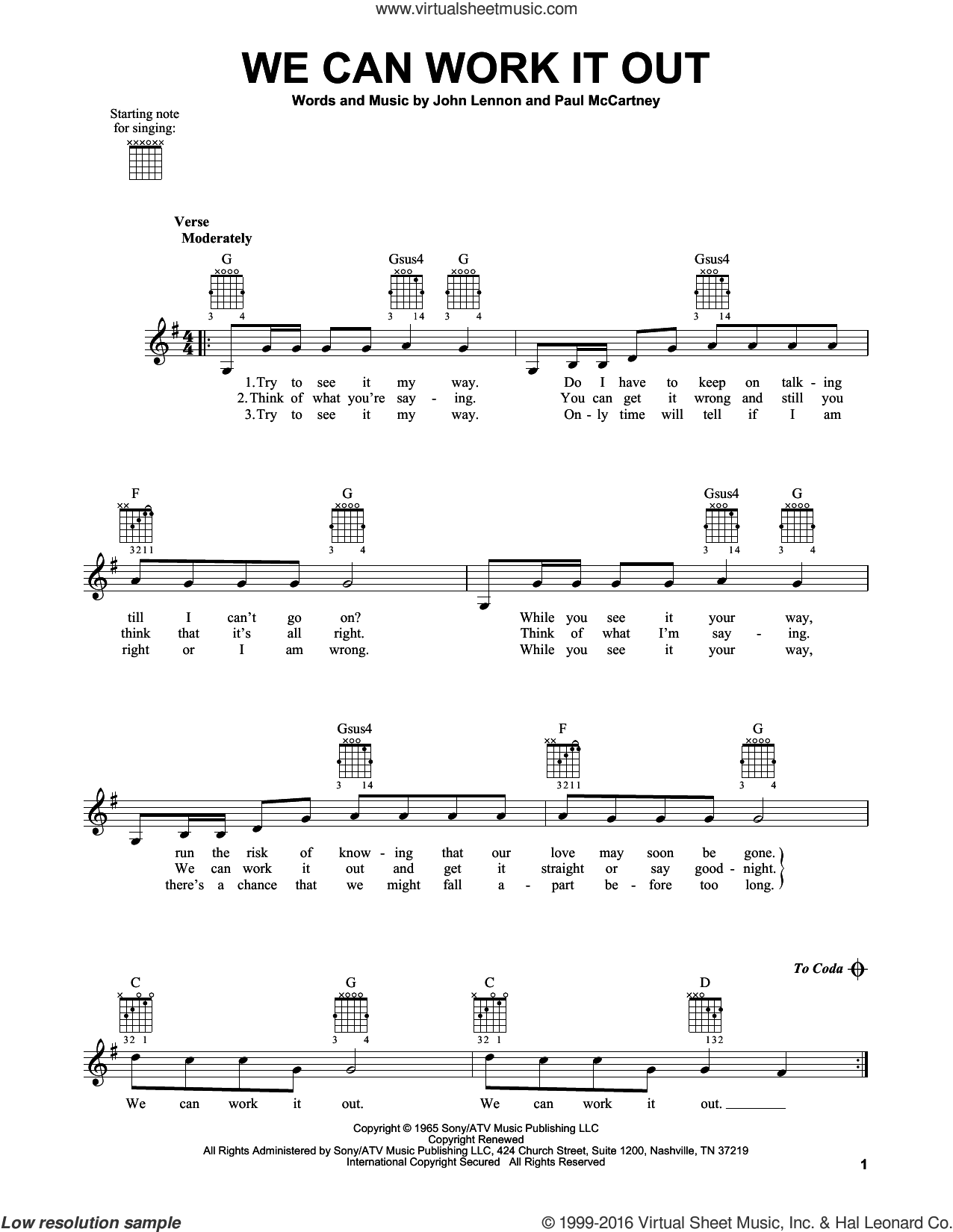 We Can Work It Out sheet music for guitar solo (chords) by The Beatles, John Lennon and Paul McCartney, easy guitar (chords)