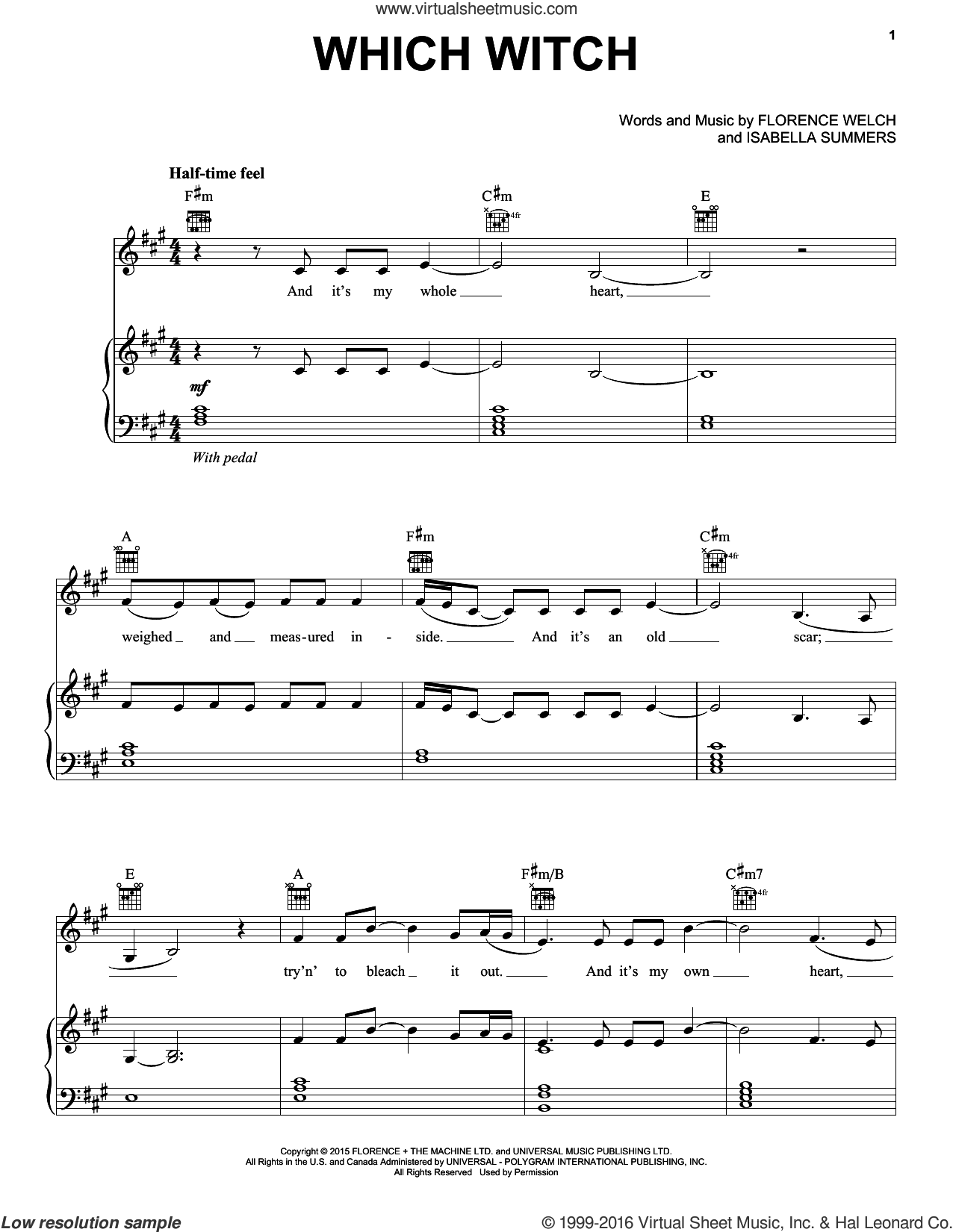 Which Witch sheet music for voice, piano or guitar by Florence And The Machine, Florence Welch and Isabella Summers, intermediate skill level