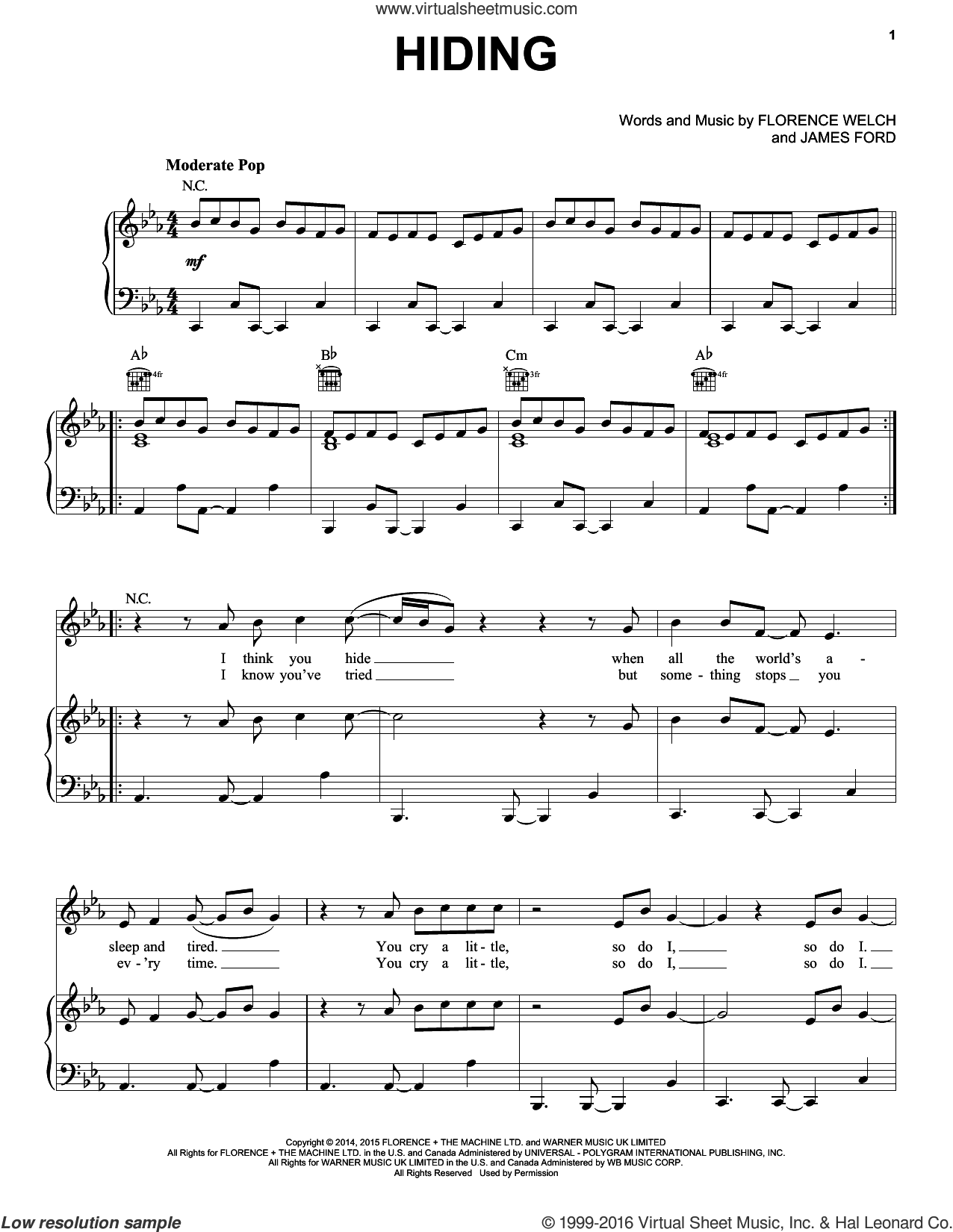 Hiding sheet music for voice, piano or guitar by Florence And The Machine, Florence Welch and James Ford, intermediate skill level