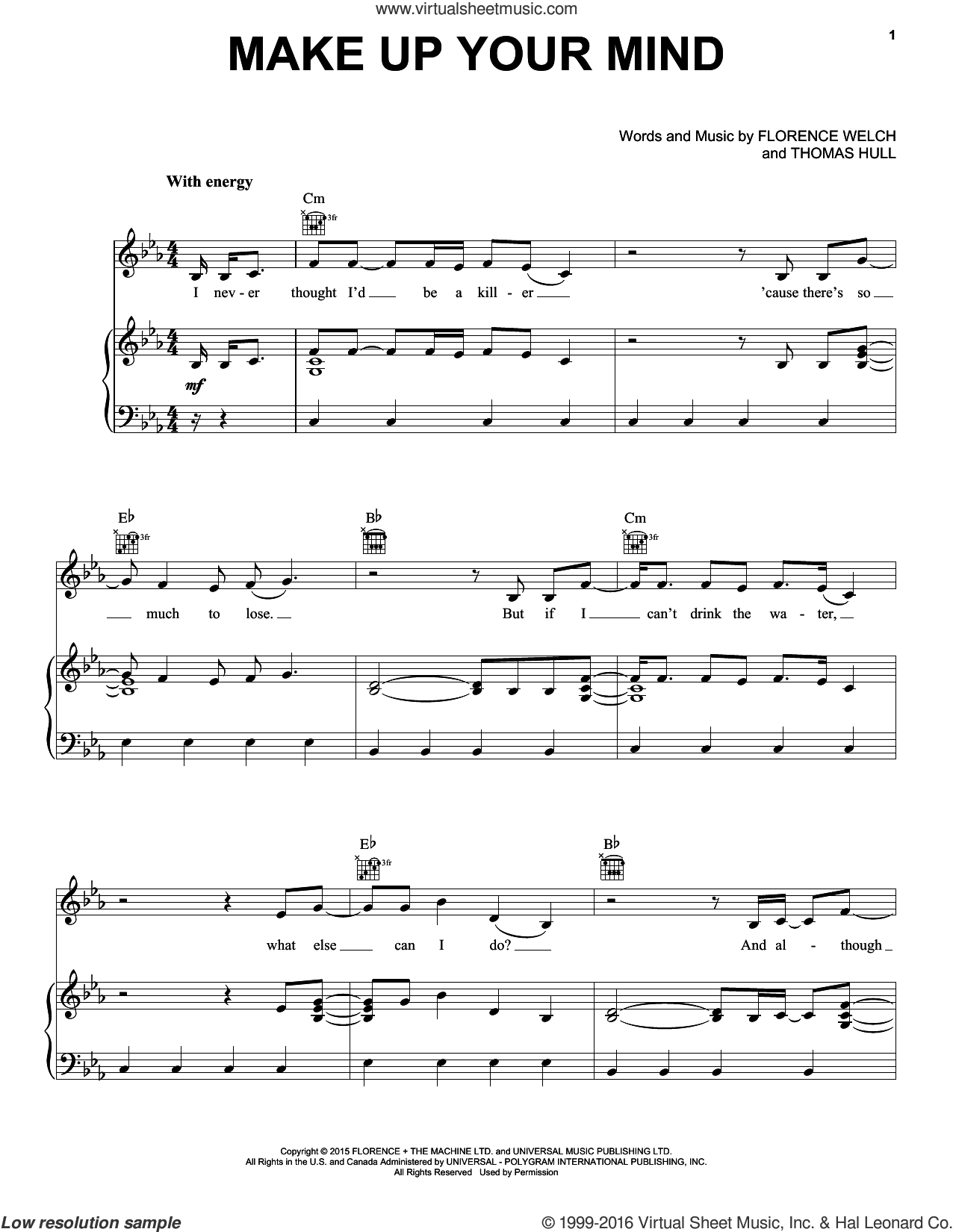 Make Up Your Mind sheet music for voice, piano or guitar by Florence And The Machine, Florence Welch and Tom Hull, intermediate skill level