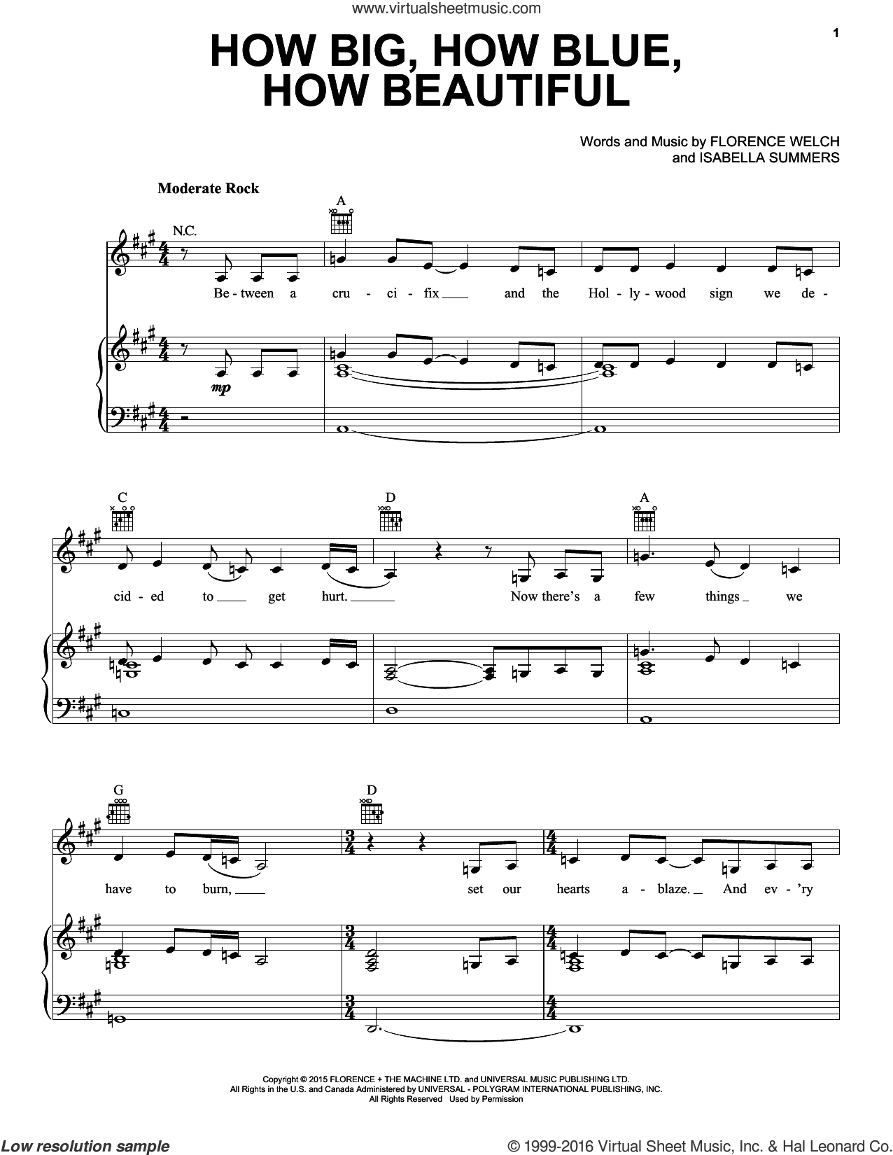 How Big, How Blue, How Beautiful sheet music for voice, piano or guitar by Isabella Summers and Florence Welch. Score Image Preview.