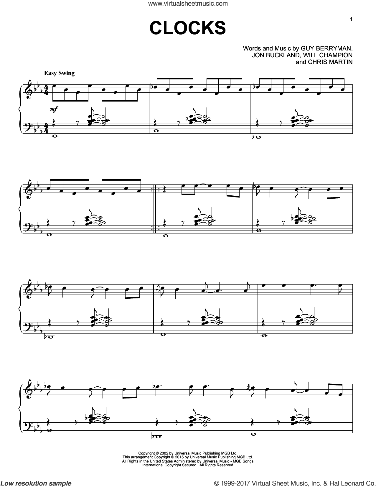Clocks [Jazz version] sheet music for piano solo by Coldplay, Chris Martin, Guy Berryman, Jon Buckland and Will Champion, intermediate skill level