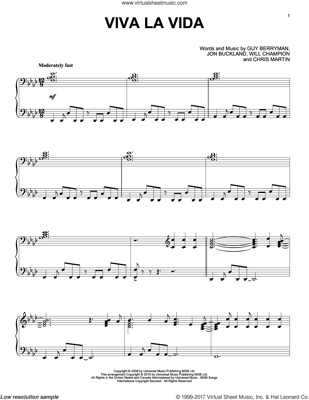 Viva La Vida [Jazz version] sheet music for piano solo by Coldplay, Chris Martin, Guy Berryman, Jon Buckland and Will Champion, intermediate skill level