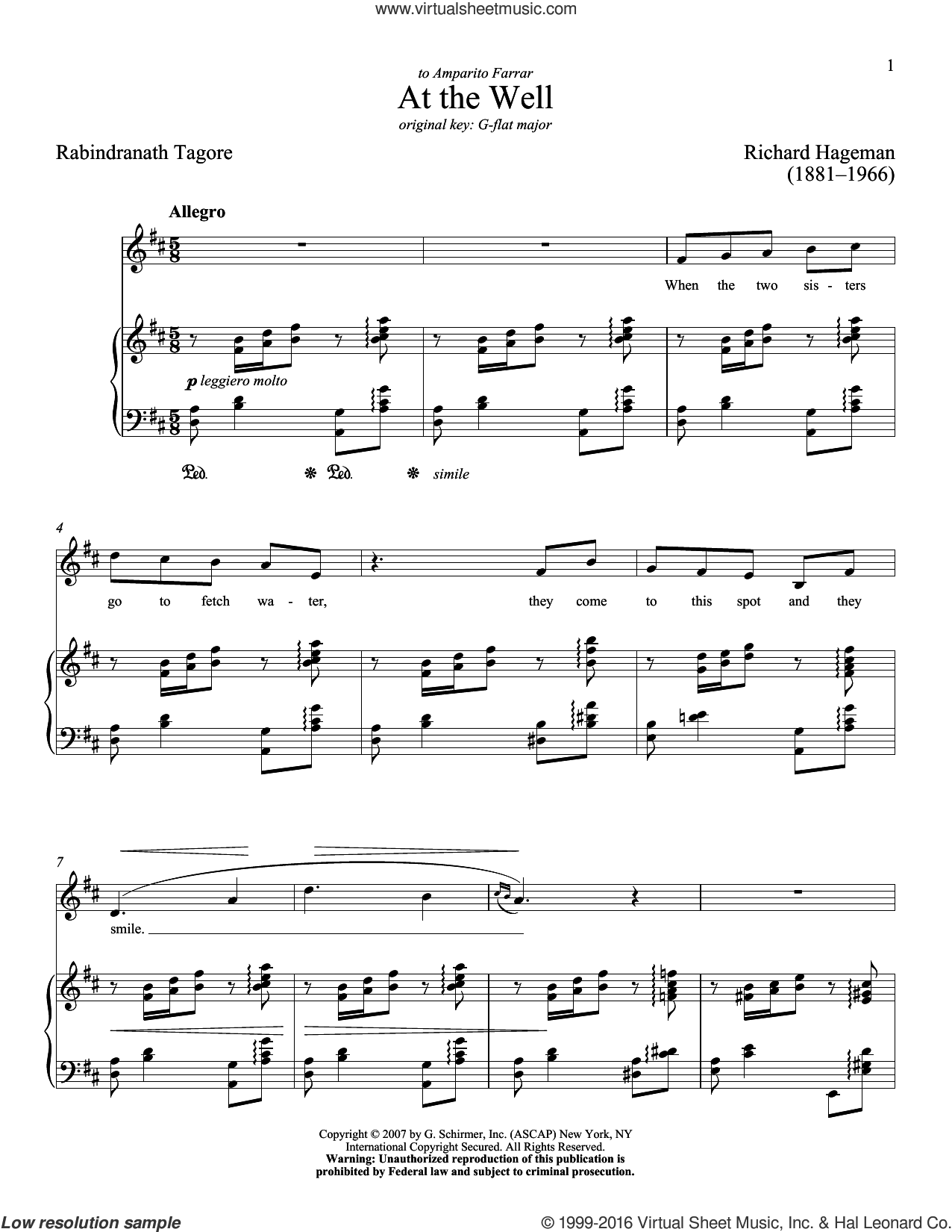 At The Well sheet music for voice and piano (Low ) by Richard Hageman, Richard Walters and Rabindranath Tagore. Score Image Preview.
