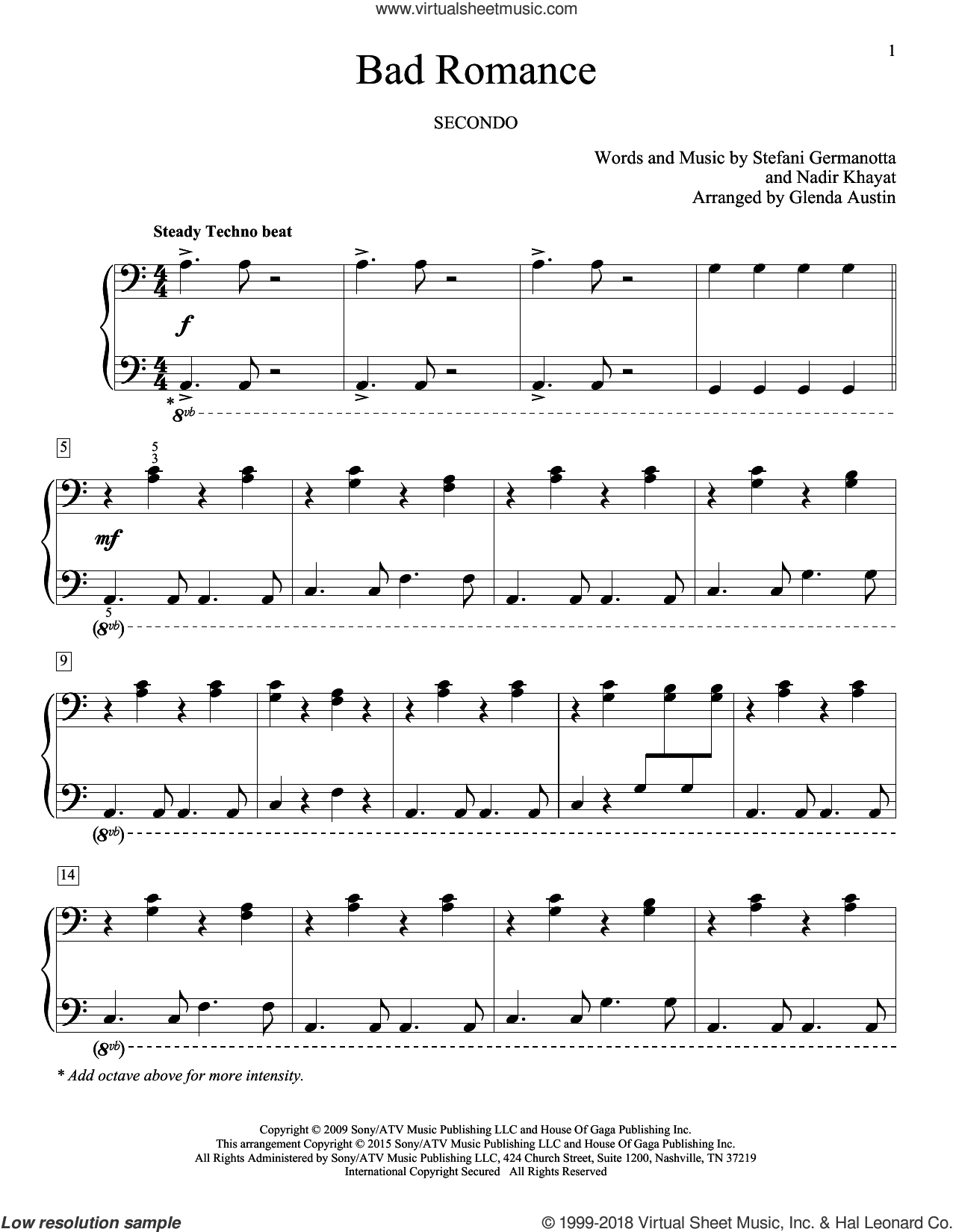 Bad Romance sheet music for piano four hands by Lady Gaga, Glenda Austin, Carolyn Miller, Eric Baumgartner and Nadir Khayat, intermediate