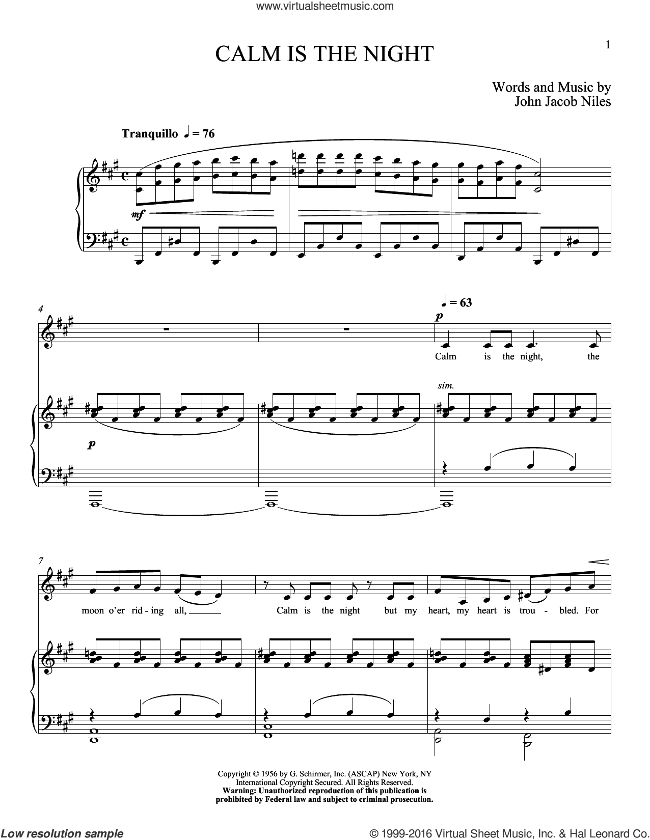 Calm Is The Night sheet music for voice and piano (Low ) by John Jacob Niles and Richard Walters. Score Image Preview.