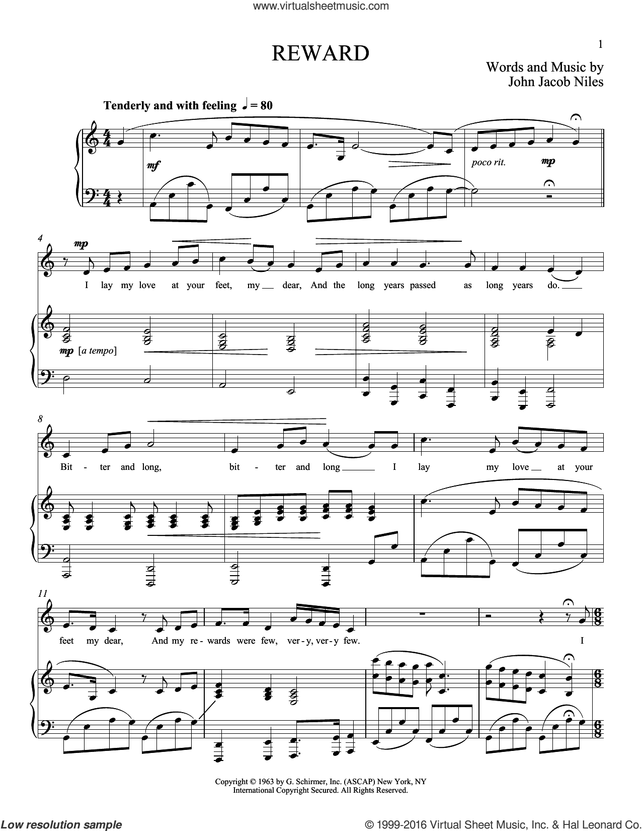 Reward sheet music for voice and piano (Low ) by John Jacob Niles and Richard Walters. Score Image Preview.