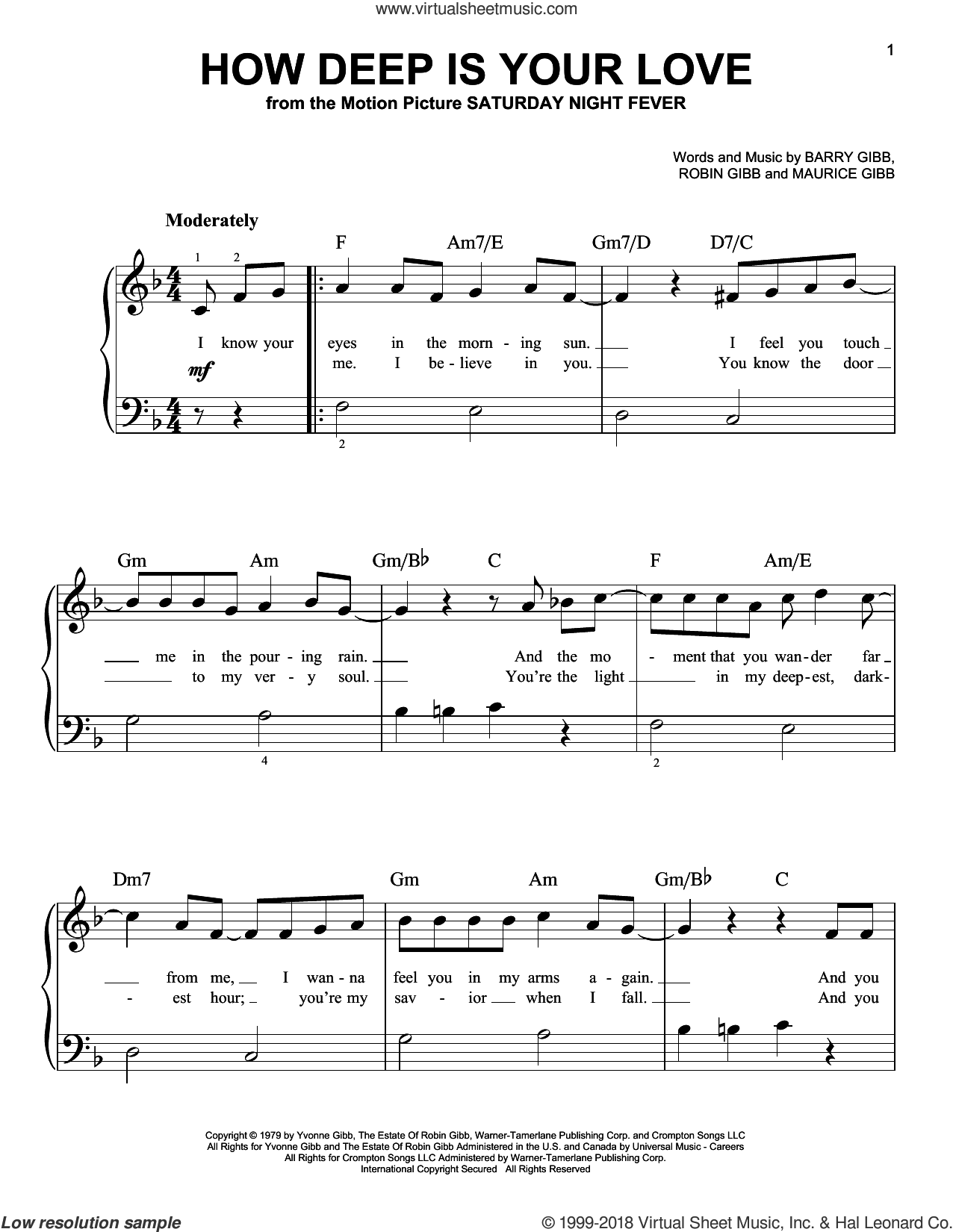 How Deep Is Your Love, (beginner) sheet music for piano solo by Barry Gibb, Bee Gees, Maurice Gibb and Robin Gibb, beginner
