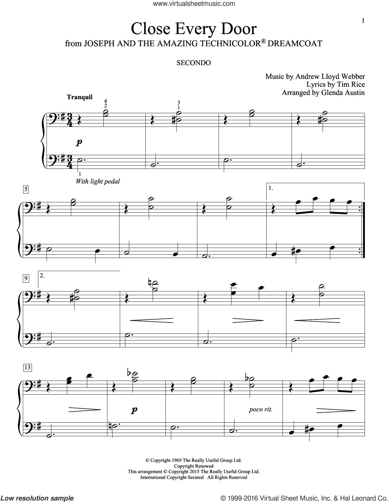 Close Every Door sheet music for piano four hands (duets) by Andrew Lloyd Webber, Glenda Austin, Carolyn Miller, Eric Baumgartner and Tim Rice, intermediate piano four hands. Score Image Preview.