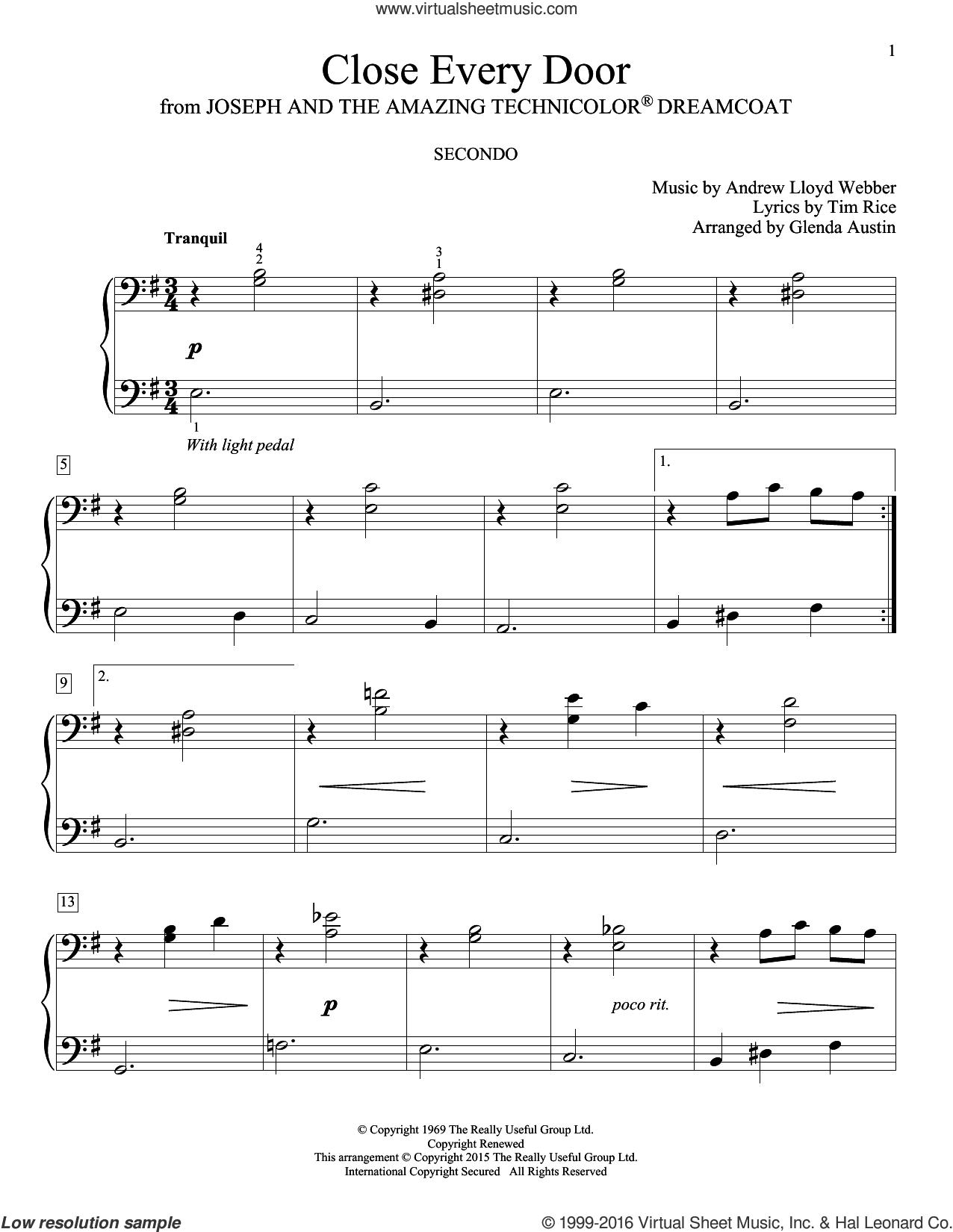 Close Every Door (arr. Glenda Austin) sheet music for piano four hands by Andrew Lloyd Webber, Glenda Austin, Carolyn Miller, Eric Baumgartner and Tim Rice, intermediate skill level