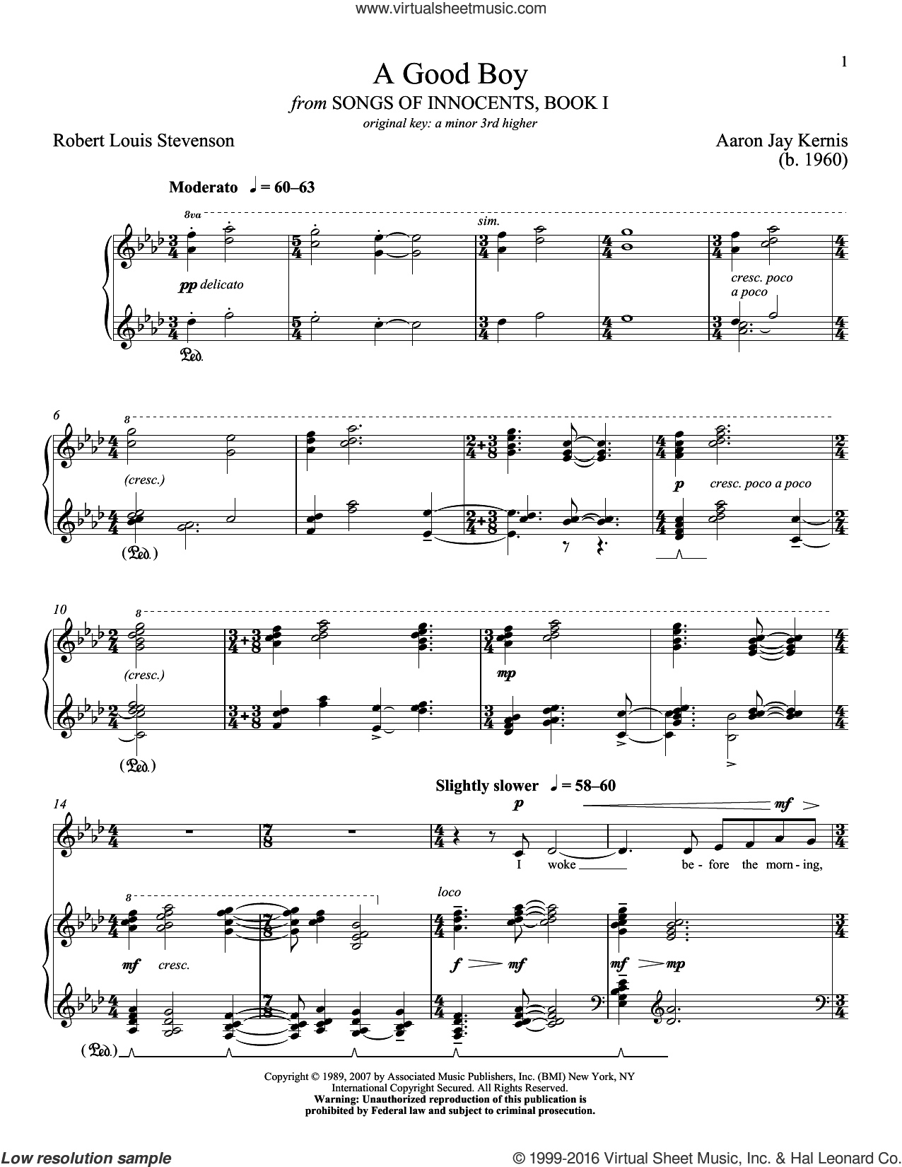 A Good Boy sheet music for voice and piano (Low ) by Aaron Jay Kernis, Richard Walters and Robert Louis Stevenson, classical score, intermediate voice. Score Image Preview.