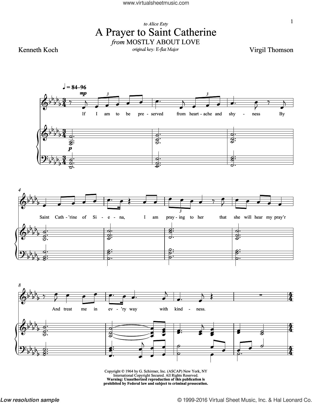 A Prayer To Saint Catherine sheet music for voice and piano (Low ) by Kenneth Koch, Richard Walters and Virgil Thomson. Score Image Preview.