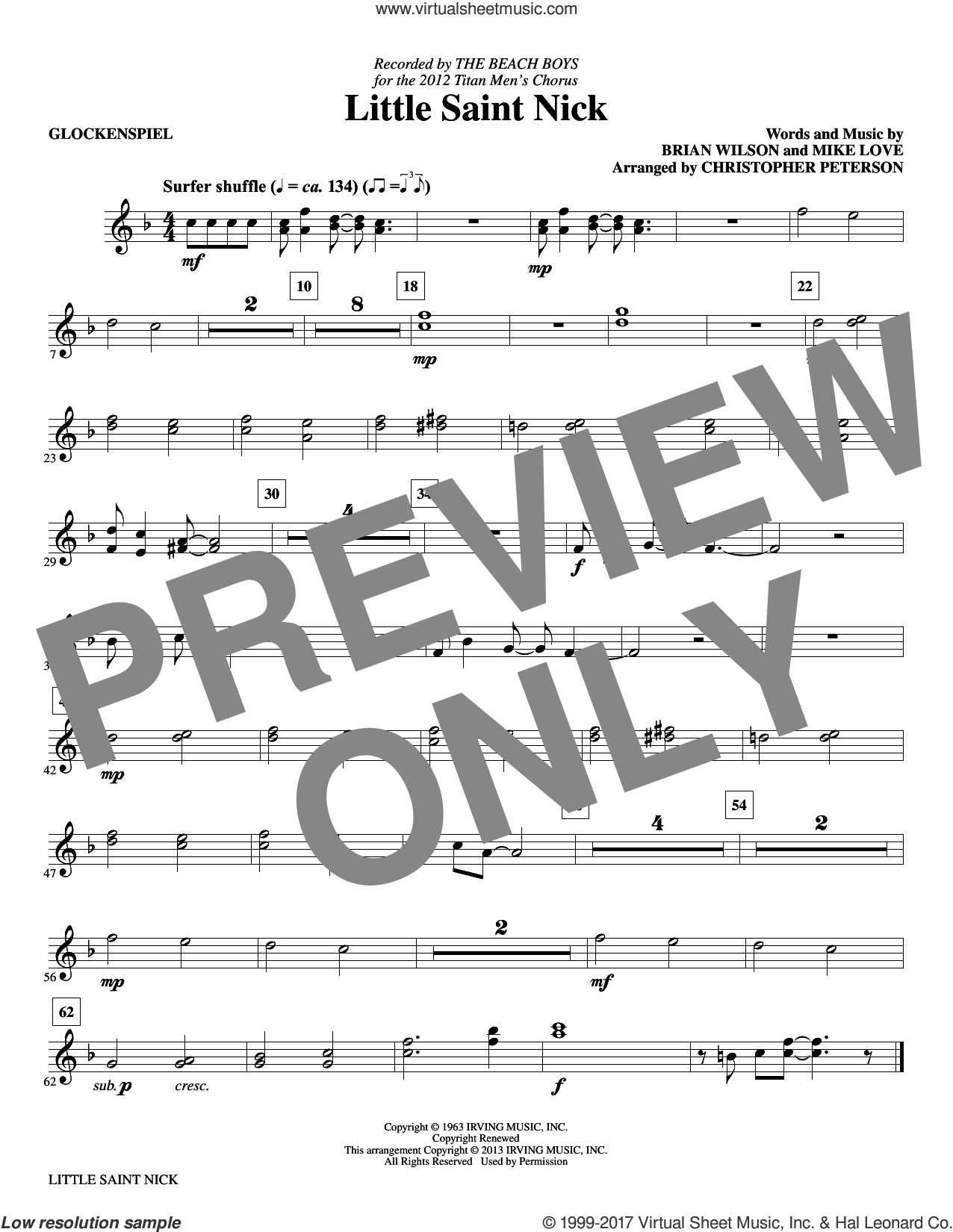 Little Saint Nick (complete set of parts) sheet music for orchestra/band by The Beach Boys, Brian Wilson, Christopher Peterson and Mike Love, intermediate skill level