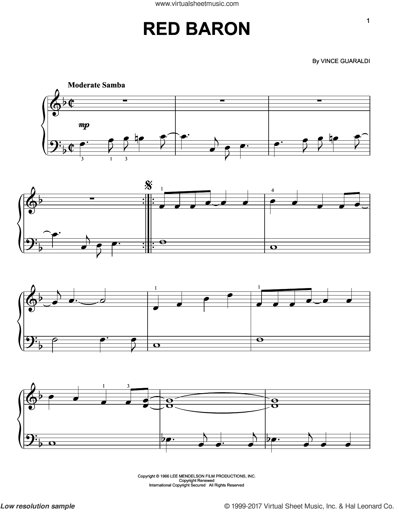 Red Baron sheet music for piano solo by Vince Guaraldi, easy skill level
