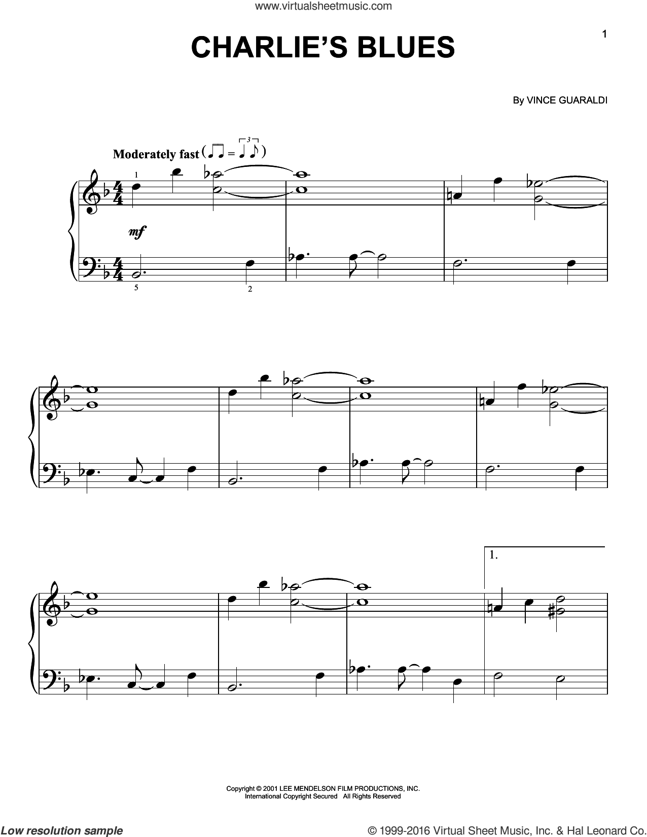 Charlie's Blues sheet music for piano solo by Vince Guaraldi, easy skill level