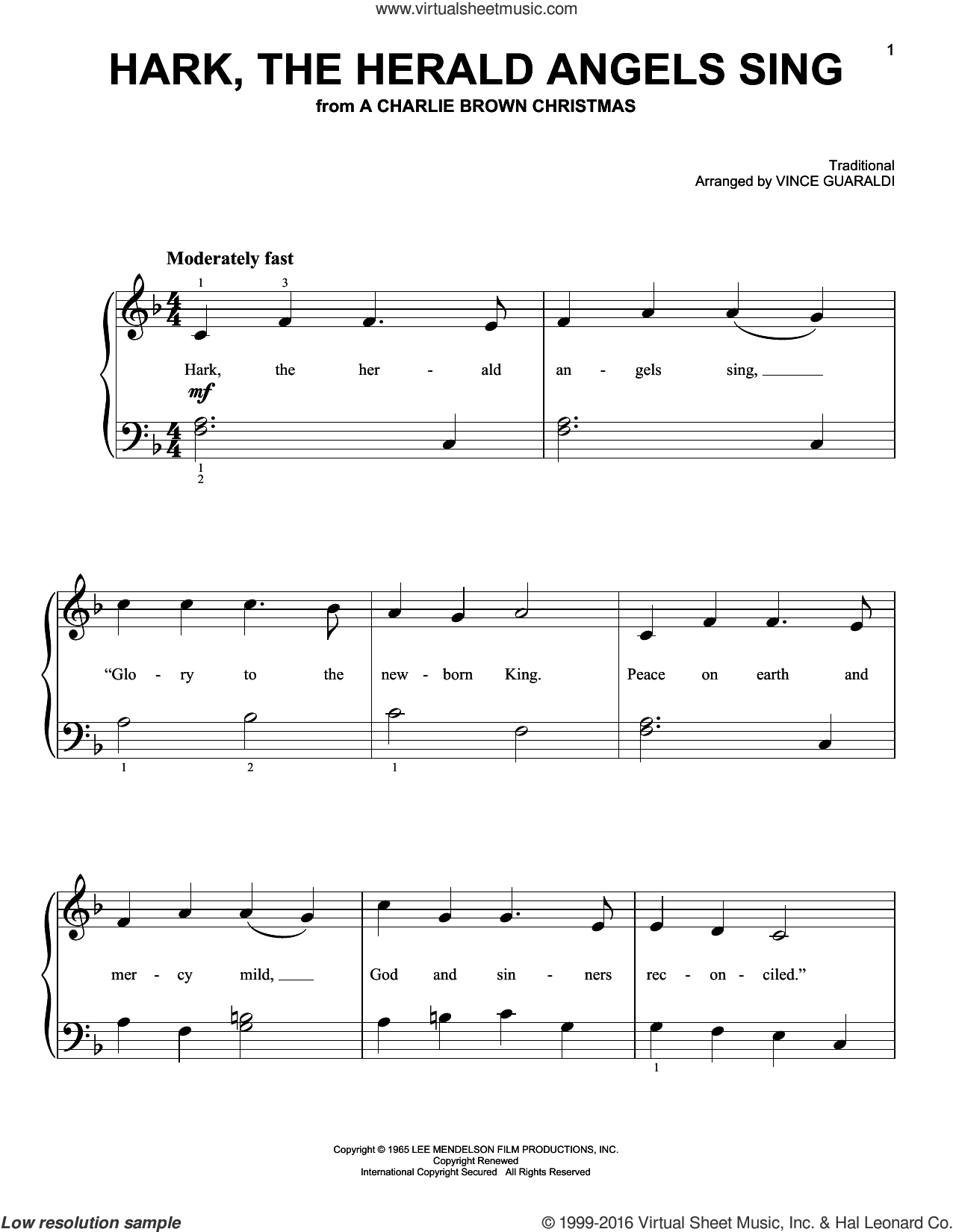Hark, The Herald Angels Sing sheet music for piano solo by Vince Guaraldi, easy skill level