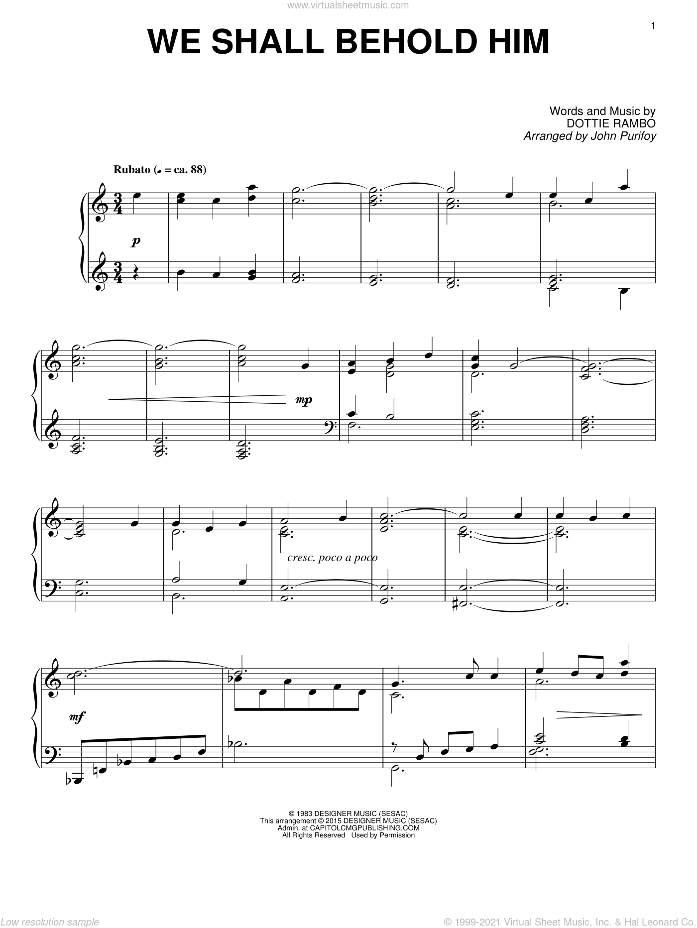 We Shall Behold Him sheet music for piano solo by Dottie Rambo and John Purifoy, intermediate skill level