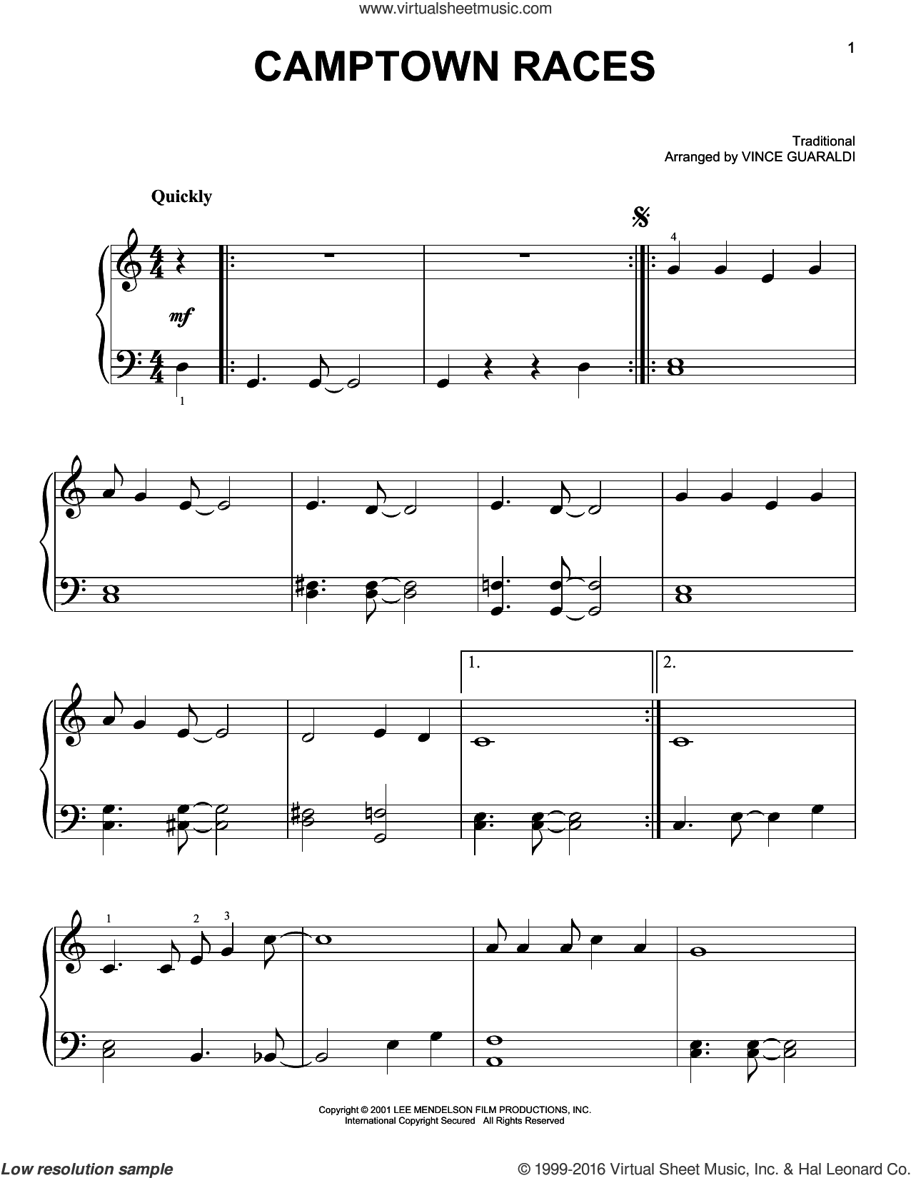 Camptown Races sheet music for piano solo by Vince Guaraldi, easy skill level
