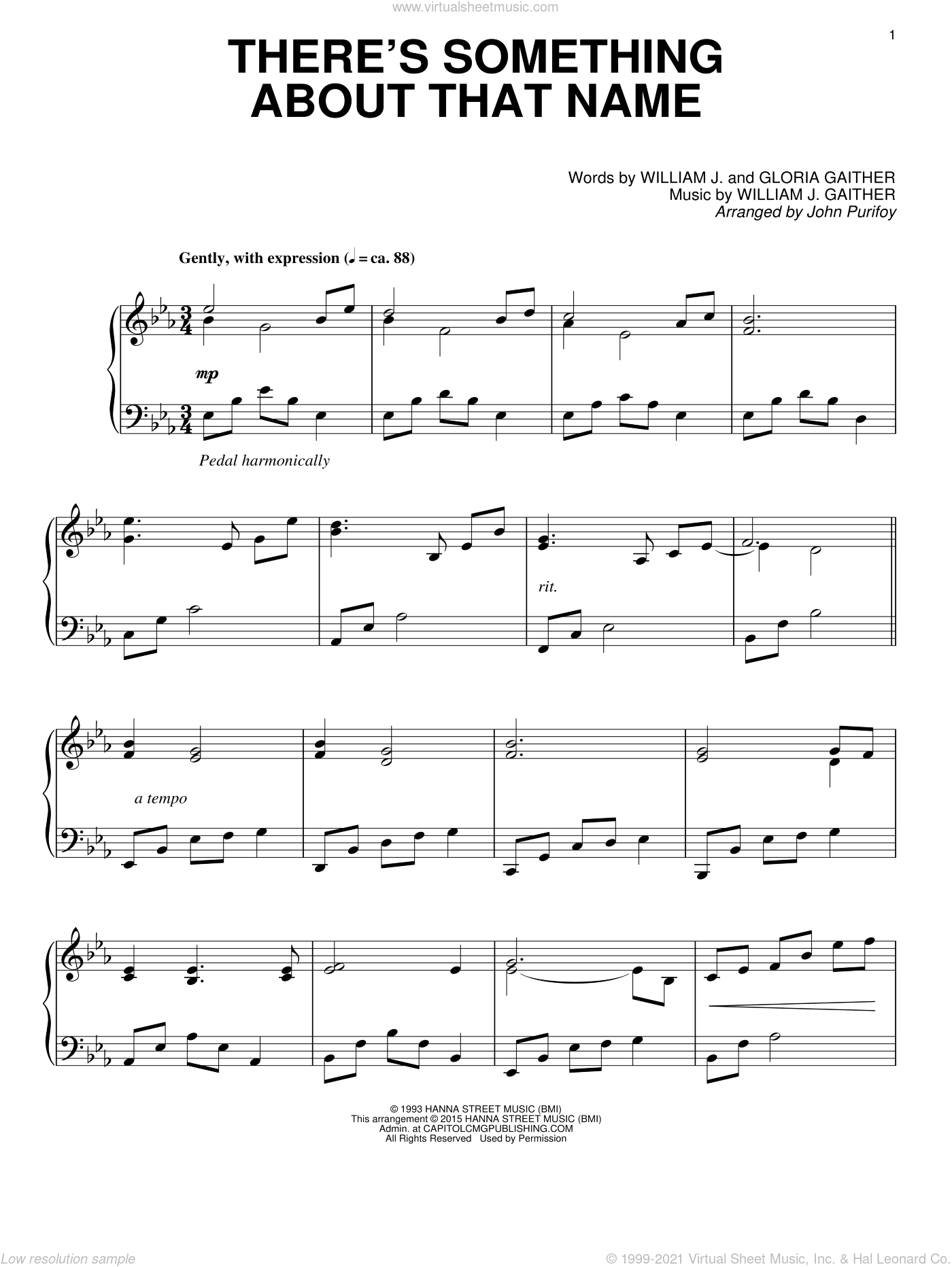 There's Something About That Name sheet music for piano solo by Gloria Gaither, John Purifoy and William J. Gaither, intermediate. Score Image Preview.