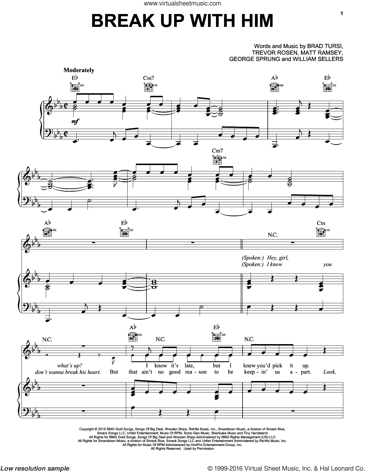 Break Up With Him sheet music for voice, piano or guitar by Old Dominion, intermediate. Score Image Preview.
