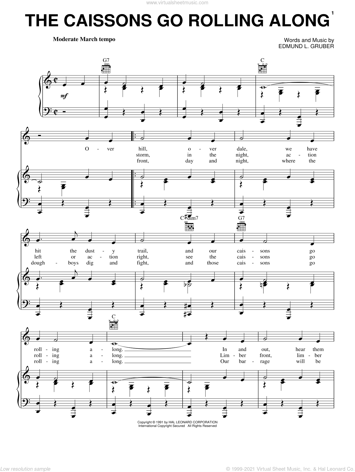 The Caissons Go Rolling Along sheet music for voice, piano or guitar by Edmund L. Gruber. Score Image Preview.