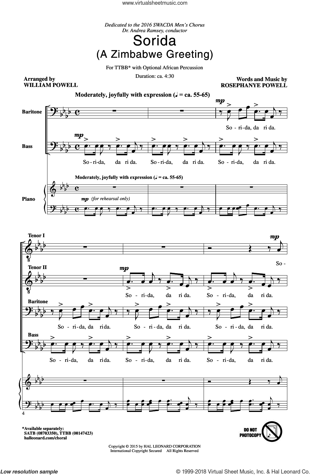 Sorida sheet music for choir and piano (TTBB) by William Powell and Rosephanye Powell. Score Image Preview.
