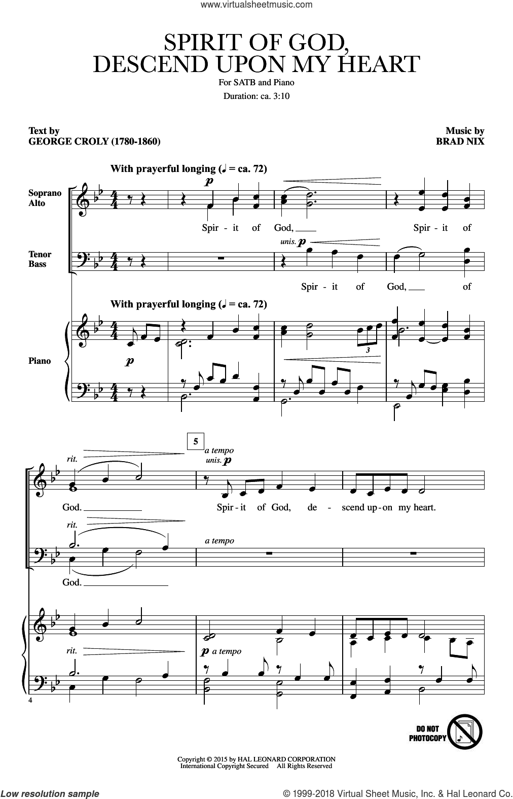 Spirit Of God, Descend Upon My Heart sheet music for choir (SATB) by Brad Nix and George Croly. Score Image Preview.