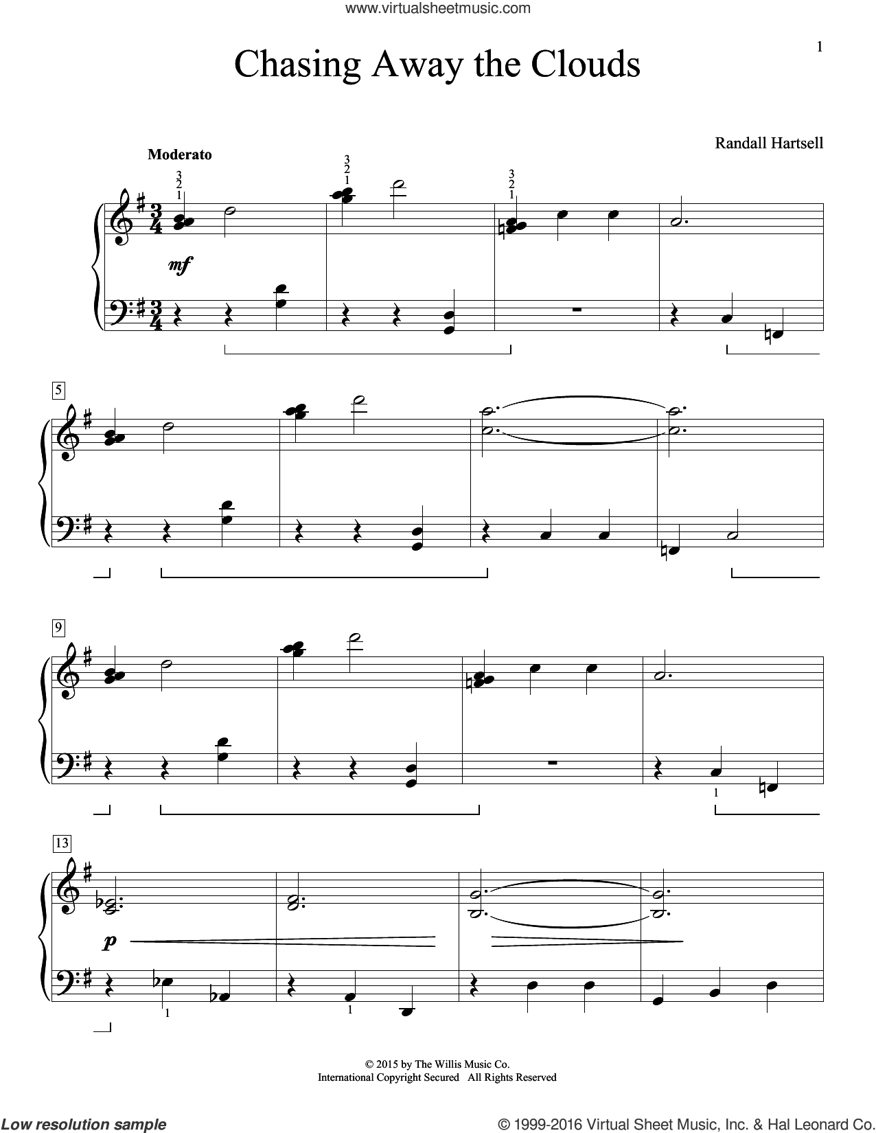 Chasing Away The Clouds sheet music for piano solo (elementary) by Randall Hartsell. Score Image Preview.