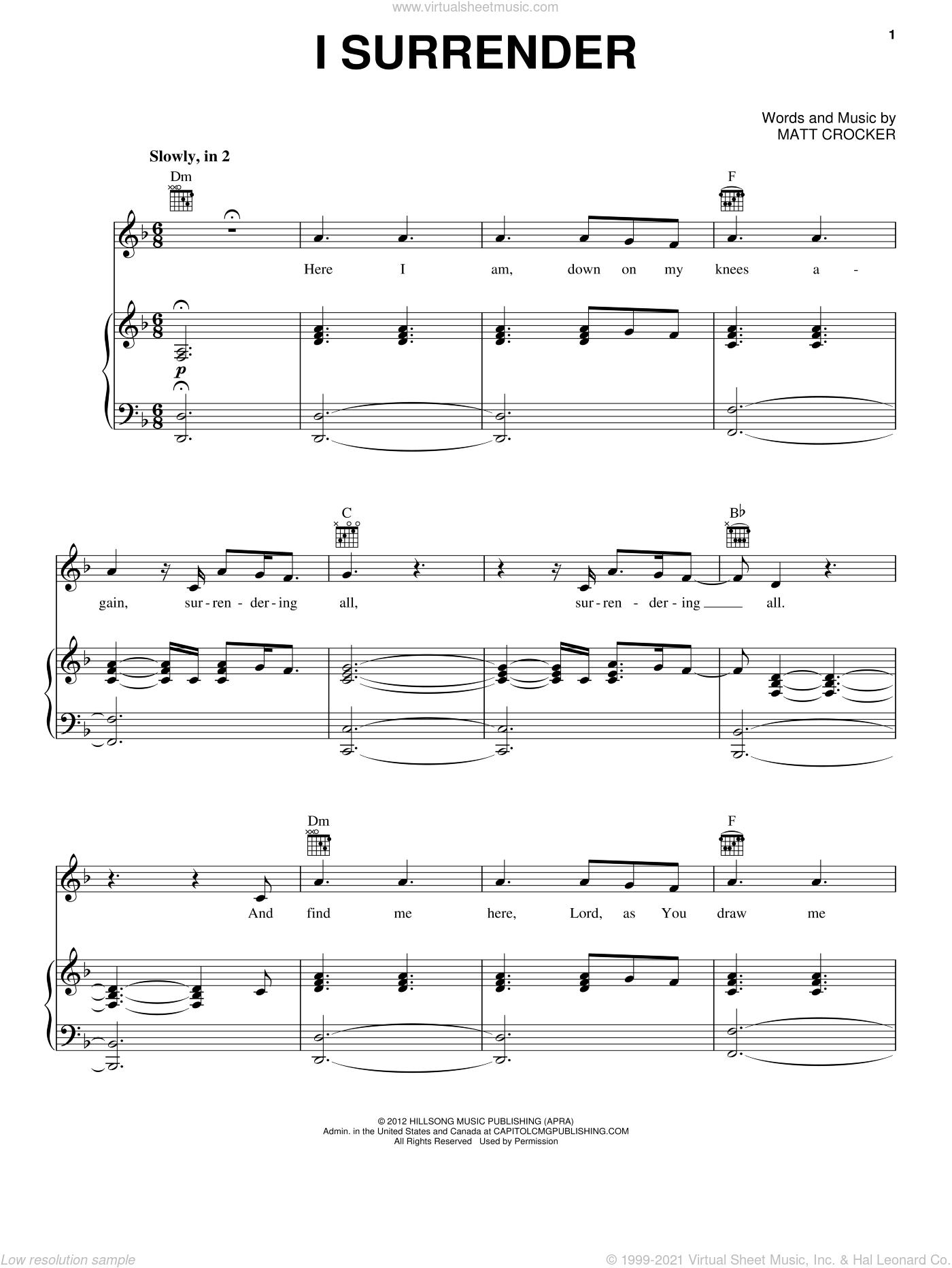 Live - I Surrender sheet music for voice, piano or guitar [PDF]