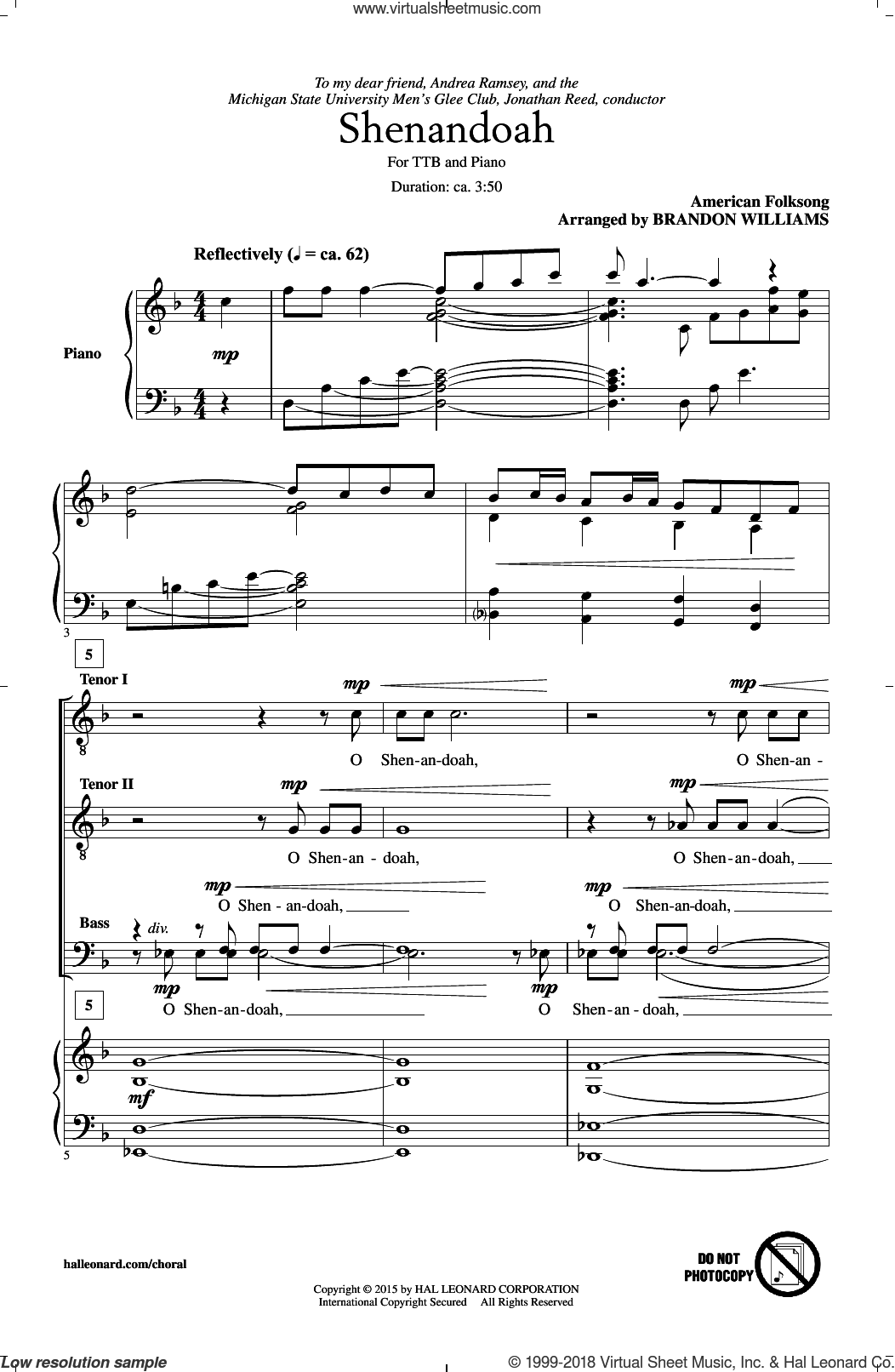Shenandoah sheet music for choir (tenor voice, bass voice, choir) by Brandon Williams and American Folksong. Score Image Preview.
