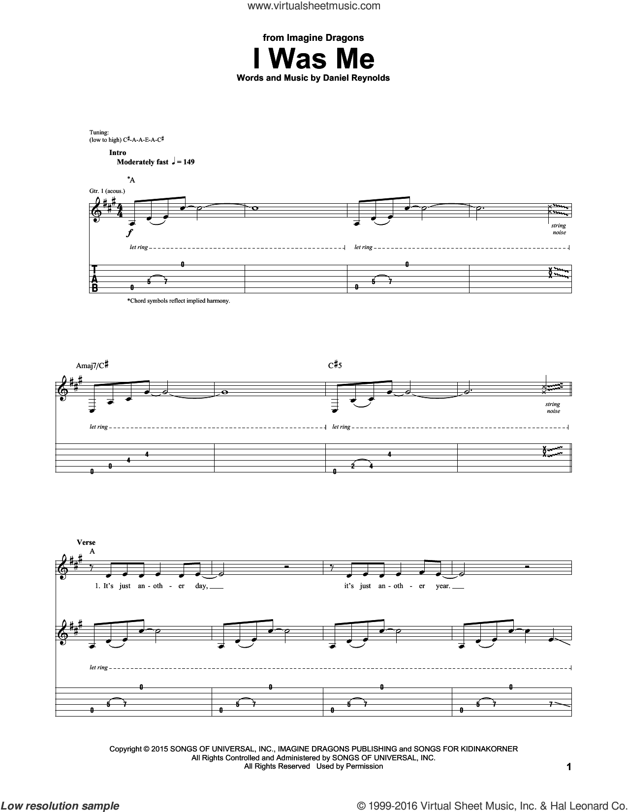 I Was Me sheet music for guitar (tablature) by Imagine Dragons, intermediate guitar (tablature). Score Image Preview.