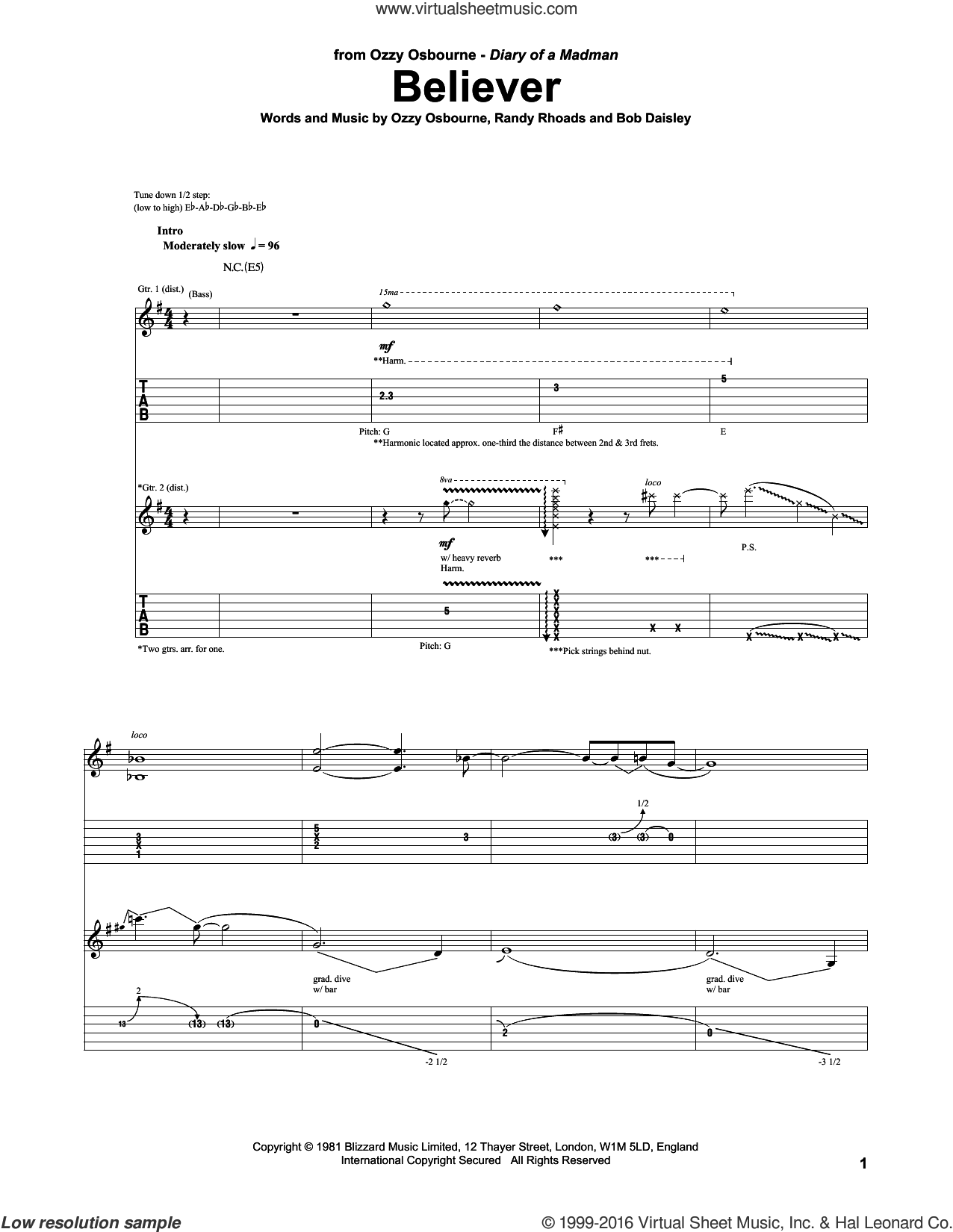 Believer sheet music for guitar (tablature) by Ozzy Osbourne and Randy Rhoads, intermediate guitar (tablature). Score Image Preview.