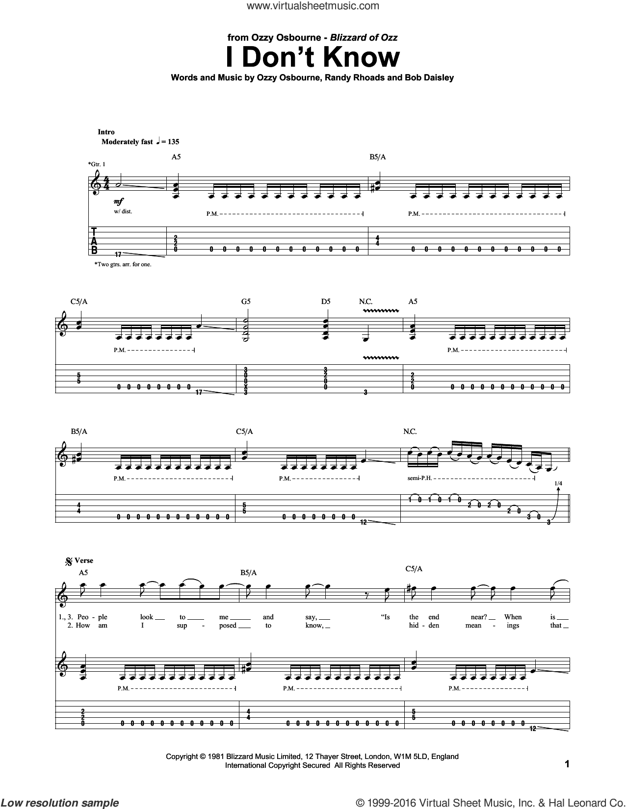 I Don't Know sheet music for guitar (tablature) by Ozzy Osbourne and Randy Rhoads. Score Image Preview.