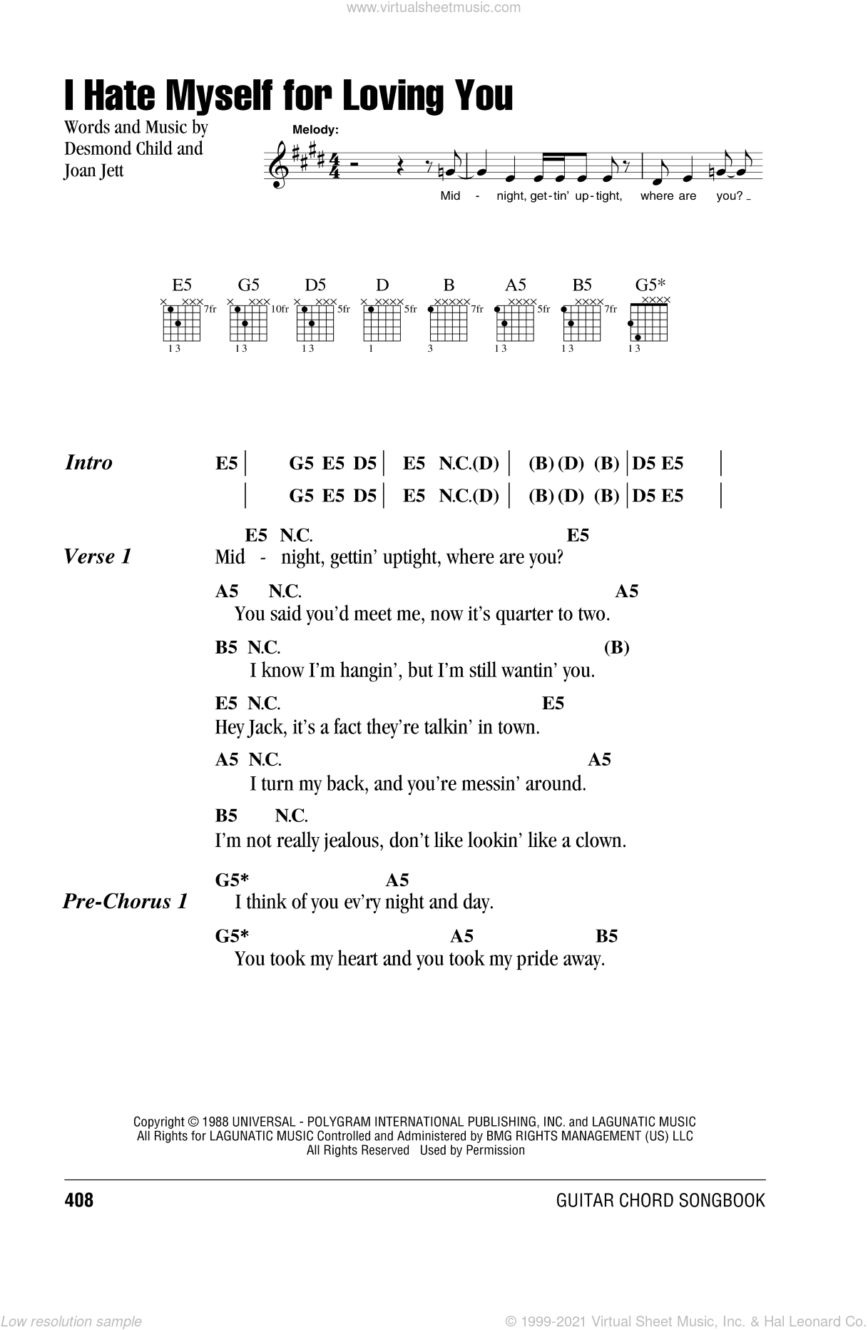 Jett I Hate Myself For Loving You Sheet Music For Guitar Chords