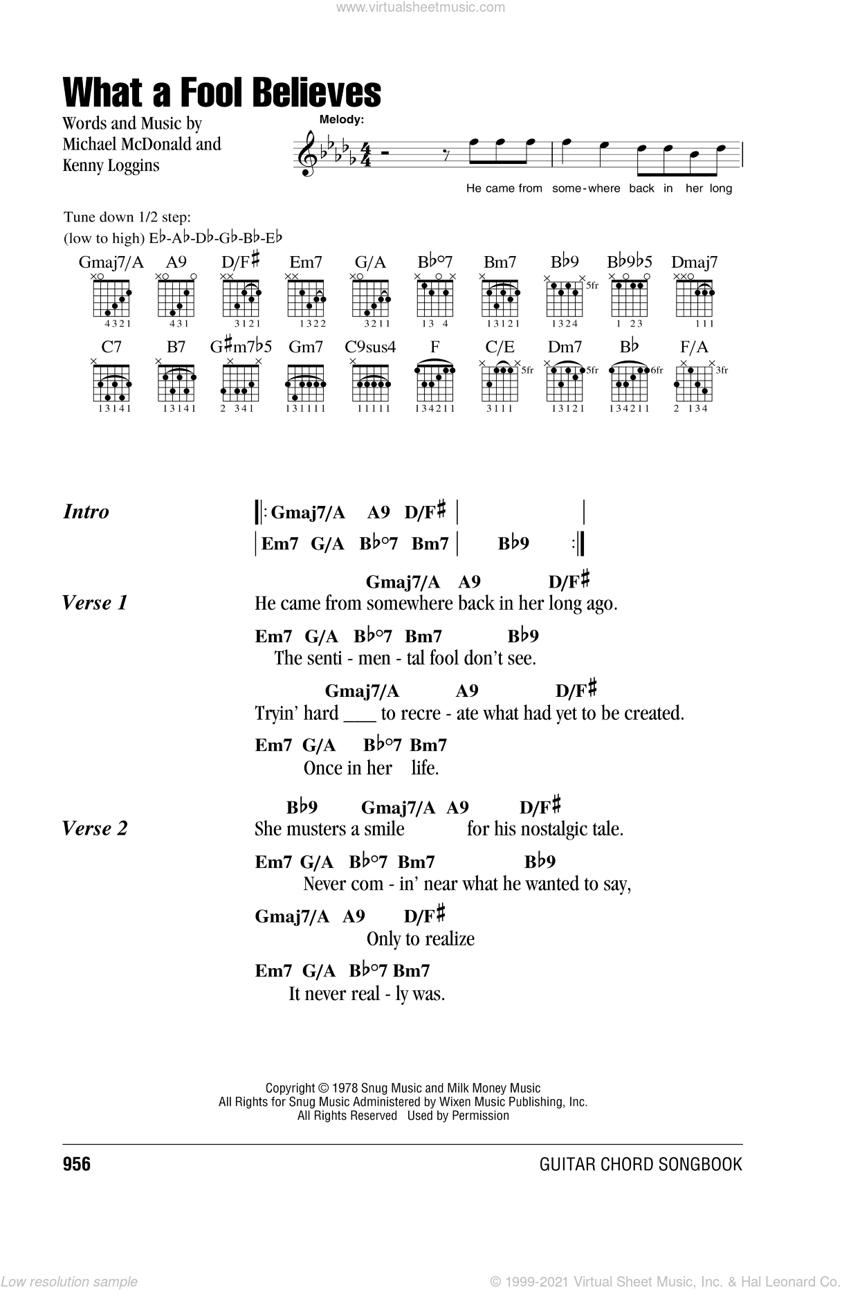 What A Fool Believes sheet music for guitar (chords) by Michael McDonald, The Doobie Brothers and Kenny Loggins. Score Image Preview.