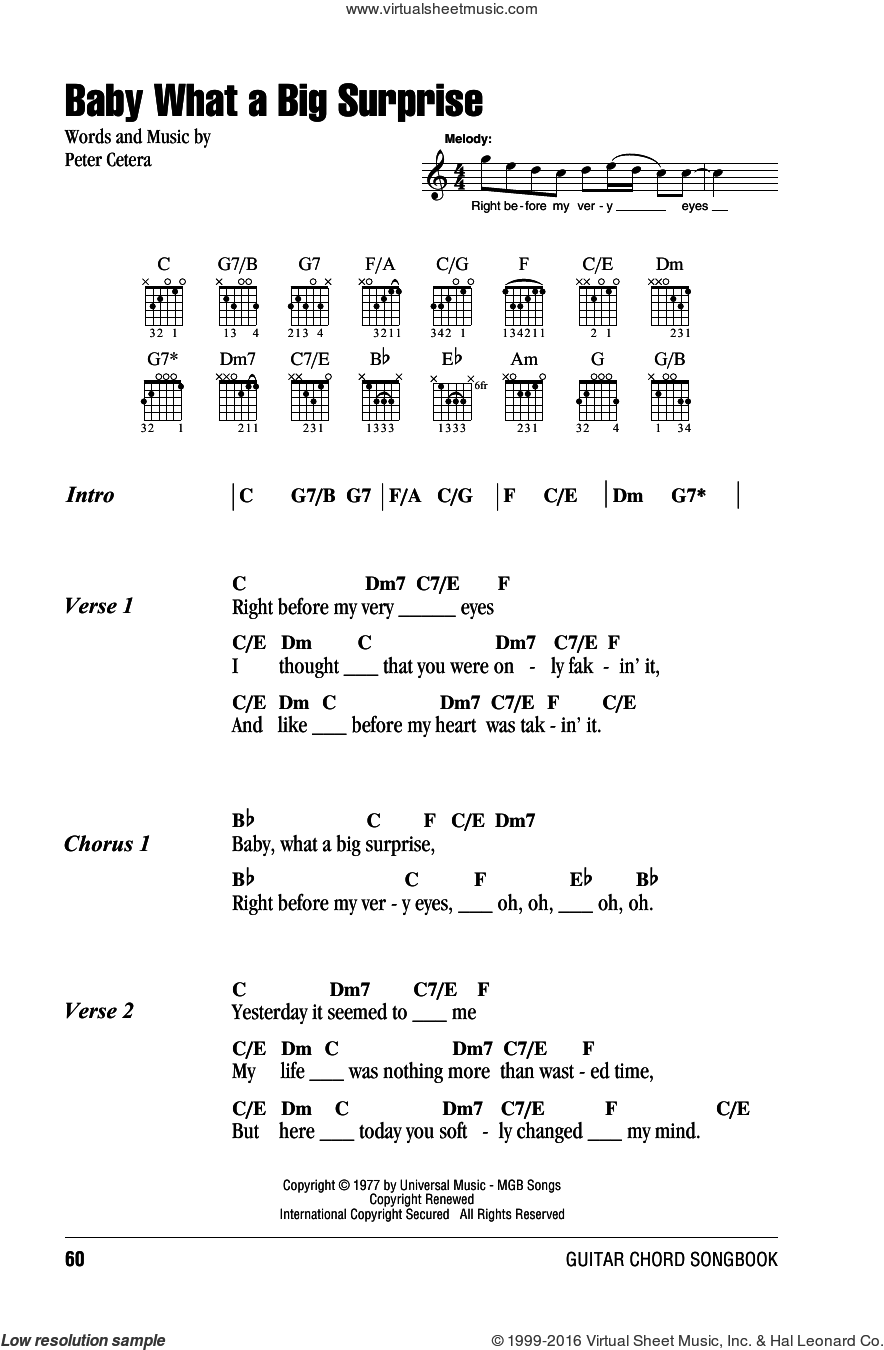 Baby What A Big Surprise sheet music for guitar (chords) by Chicago and Peter Cetera, intermediate skill level