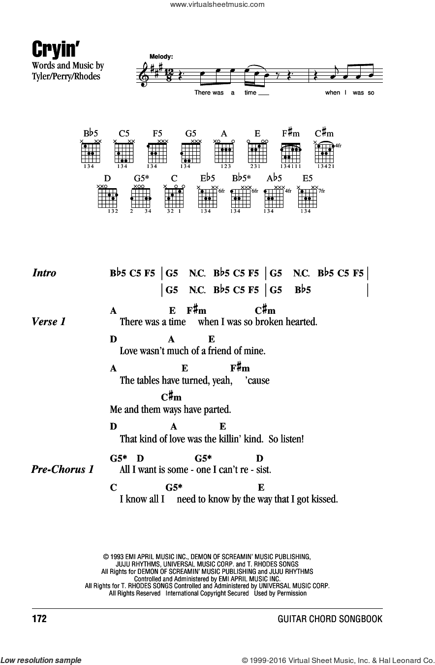 Cryin' sheet music for guitar (chords) by Aerosmith, Joe Perry, Steven Tyler and Taylor Rhodes, intermediate skill level