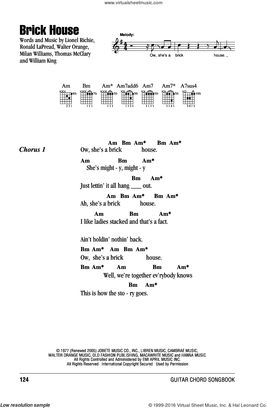 Brick House sheet music for guitar (chords) by Lionel Richie, The Commodores, Milan Williams, Ronald LaPread, Thomas McClary, Walter Orange and William King, intermediate skill level
