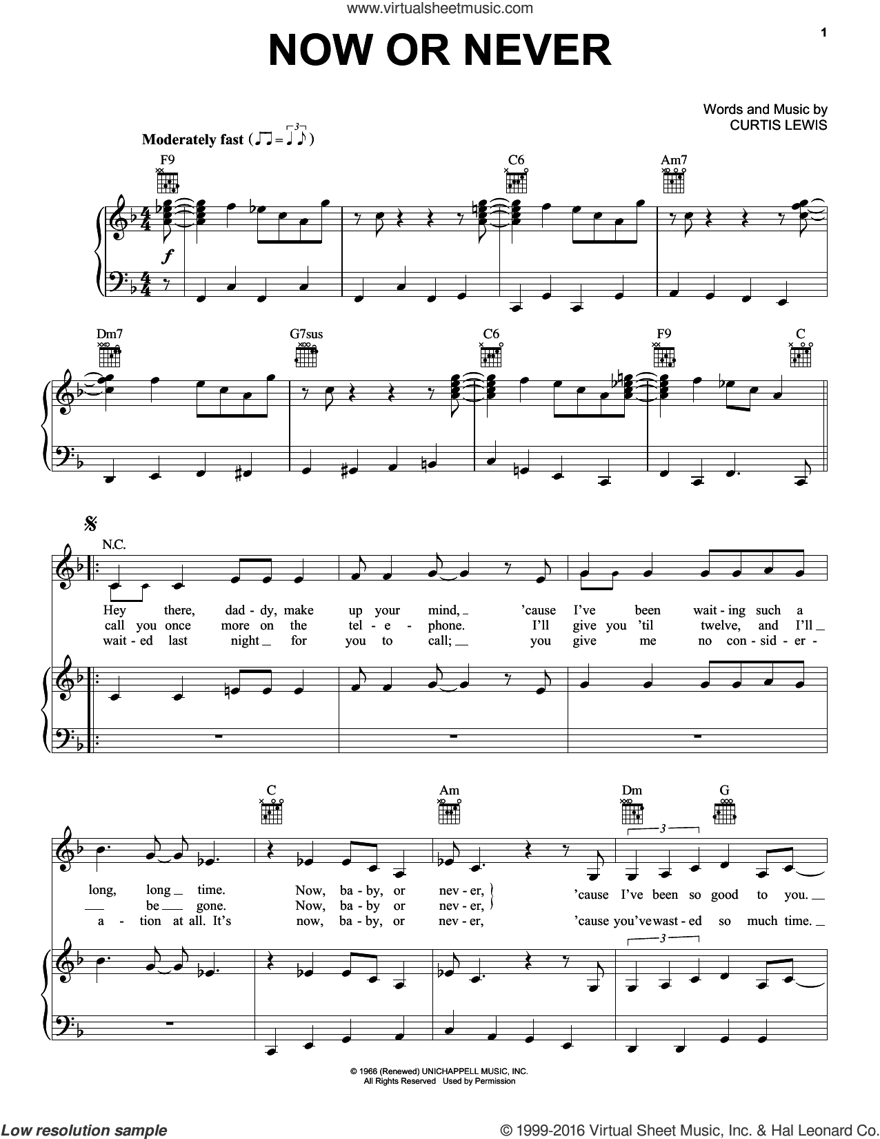 Now Or Never sheet music for voice, piano or guitar by Billie Holiday and Curtis Lewis, intermediate skill level