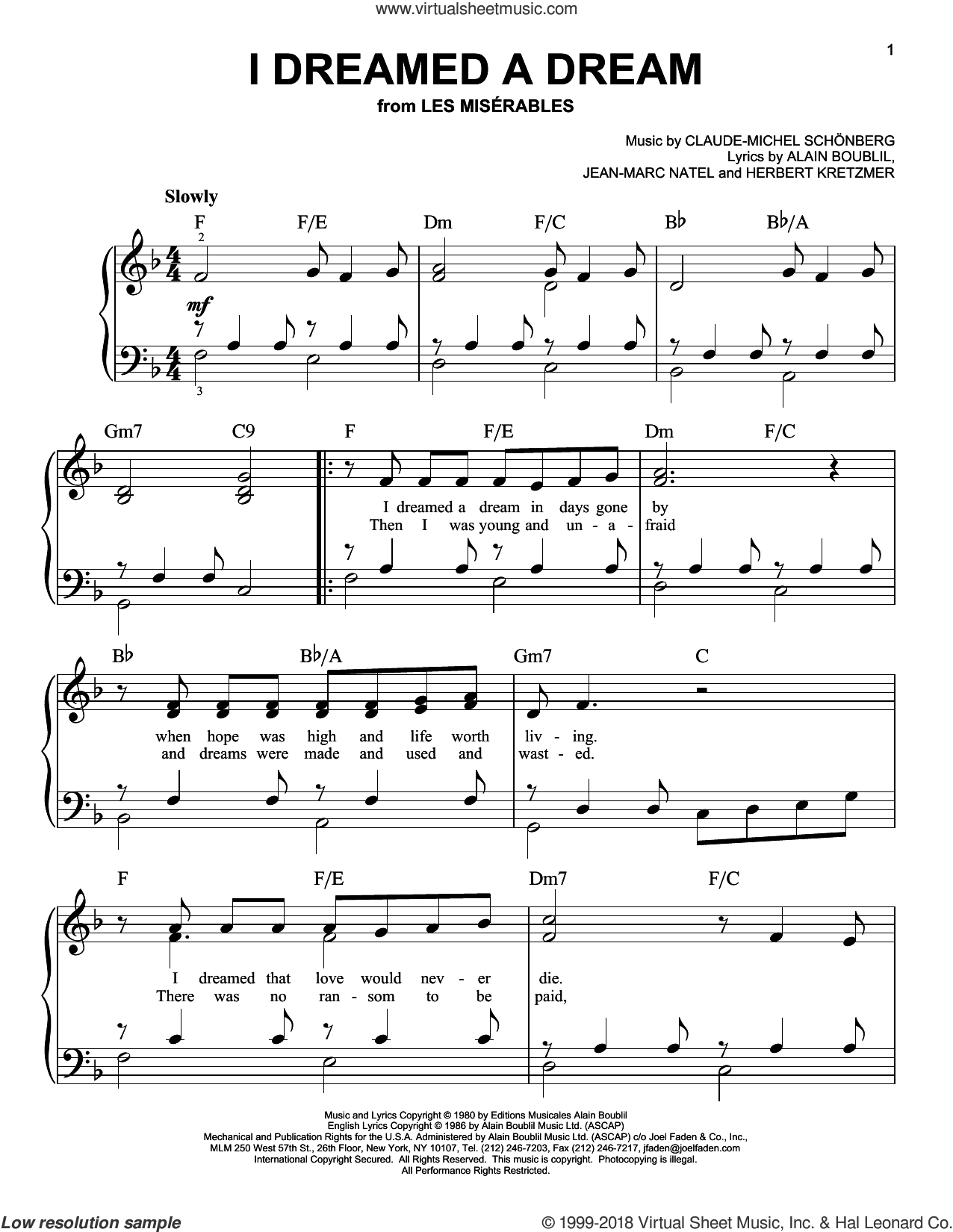 I Dreamed A Dream (from Les Miserables), (beginner) sheet music for piano solo by Claude-Michel Schonberg, Susan Boyle, Alain Boublil, Claude-Michel Schonberg, Herbert Kretzmer and Jean-Marc Natel, beginner skill level