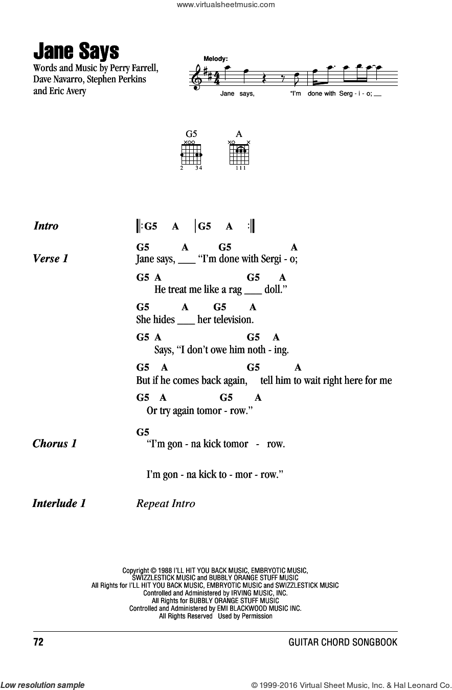 Jane Says sheet music for guitar (chords) by Jane's Addiction, Dave Navarro, Eric Avery, Perry Farrell and Stephen Perkins, intermediate skill level