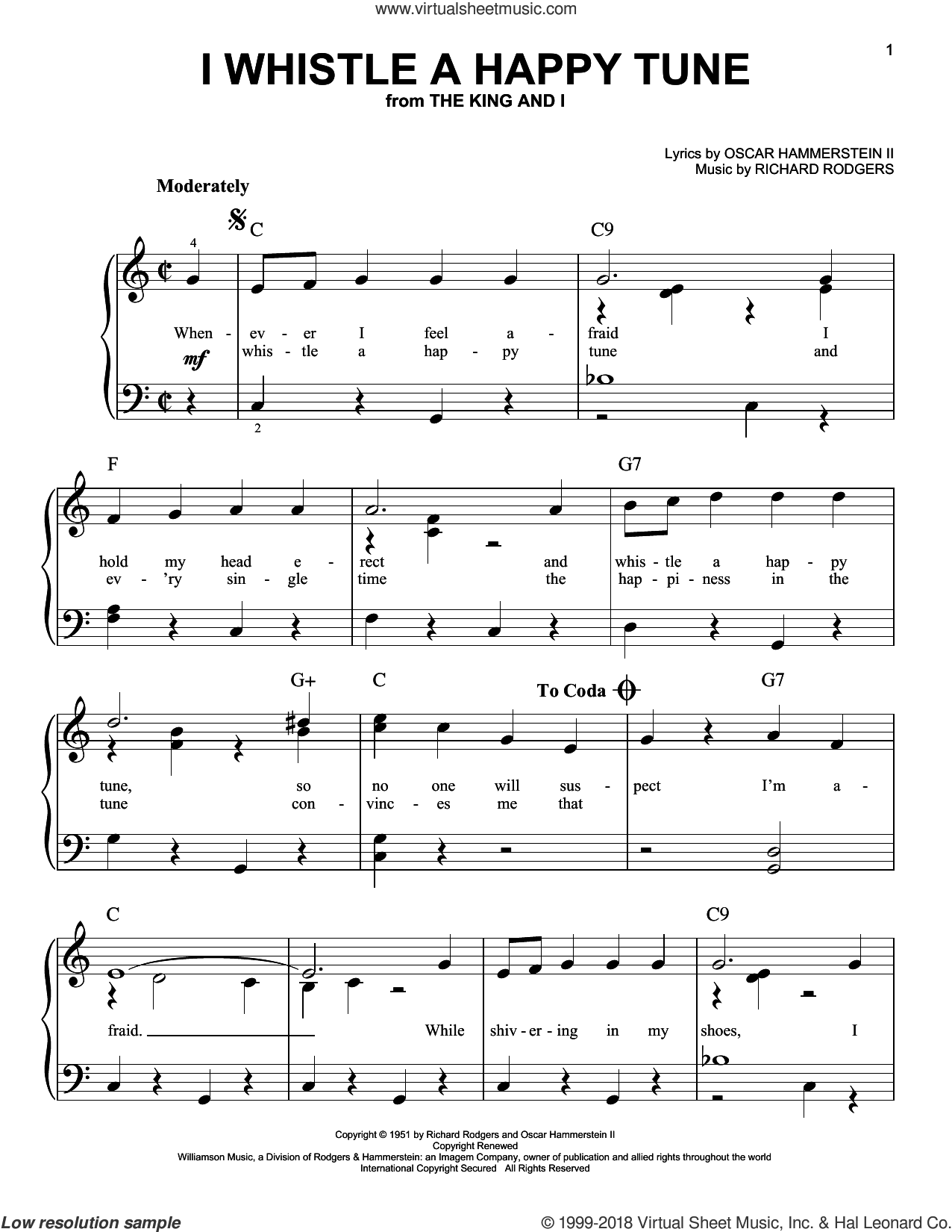 I Whistle A Happy Tune sheet music for piano solo by Rodgers & Hammerstein, Oscar II Hammerstein and Richard Rodgers, beginner skill level