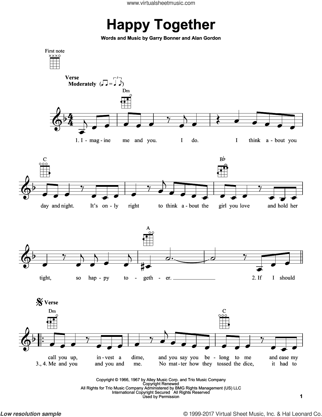 Happy Together sheet music for ukulele by The Turtles, Alan Gordon and Garry Bonner, intermediate skill level