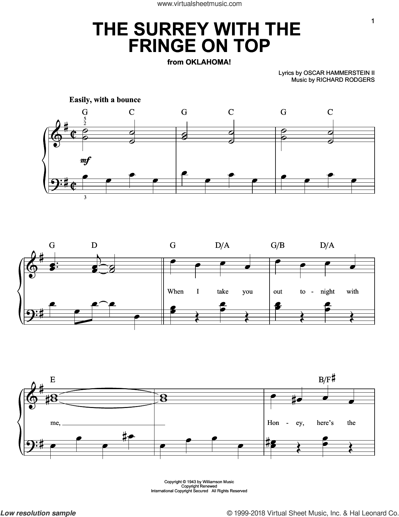 The Surrey With The Fringe On Top (from Oklahoma!) sheet music for piano solo by Rodgers & Hammerstein, Oscar II Hammerstein and Richard Rodgers, beginner skill level