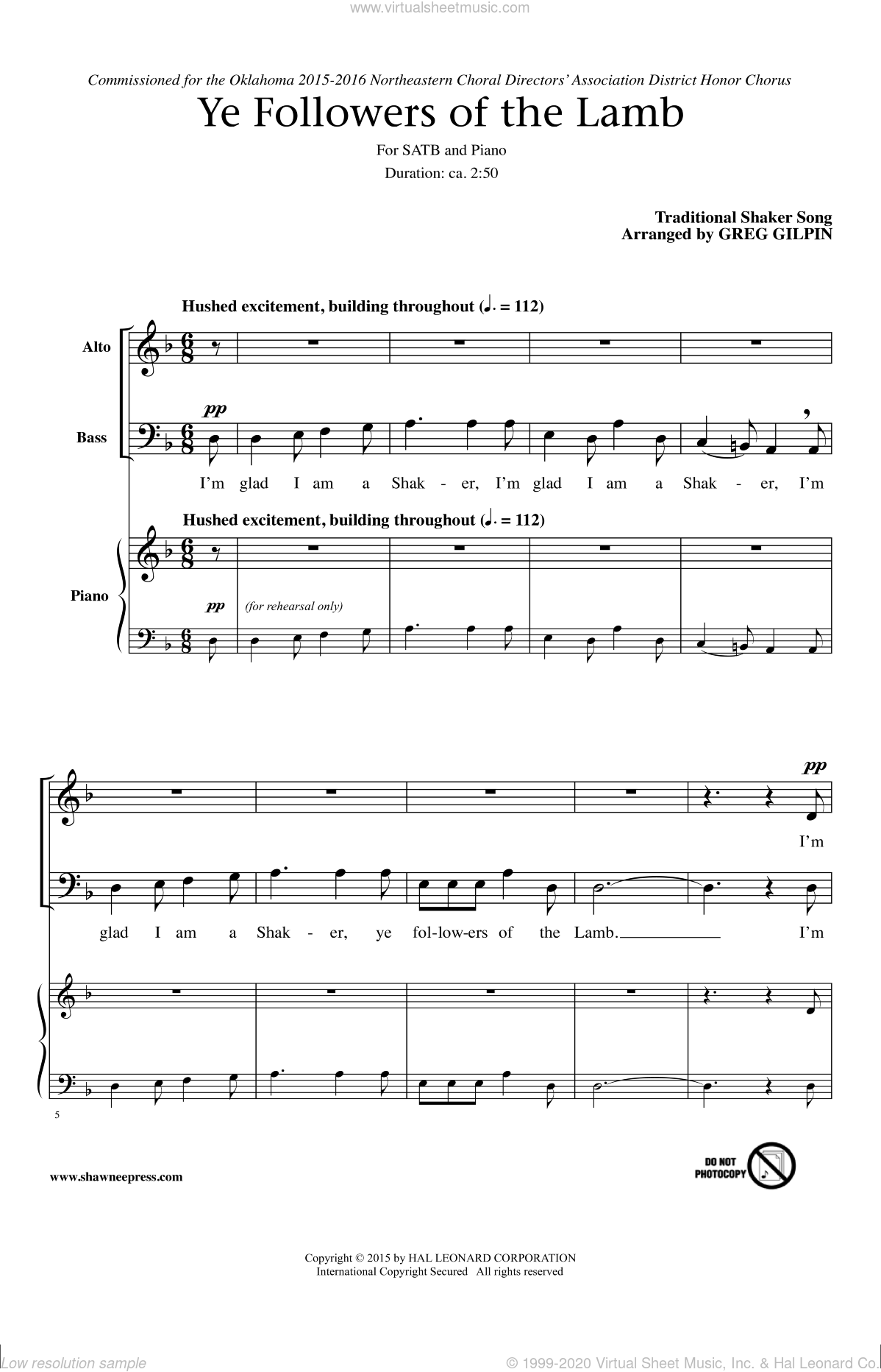 Ye Followers Of The Lamb sheet music for choir (SATB) by Greg Gilpin. Score Image Preview.