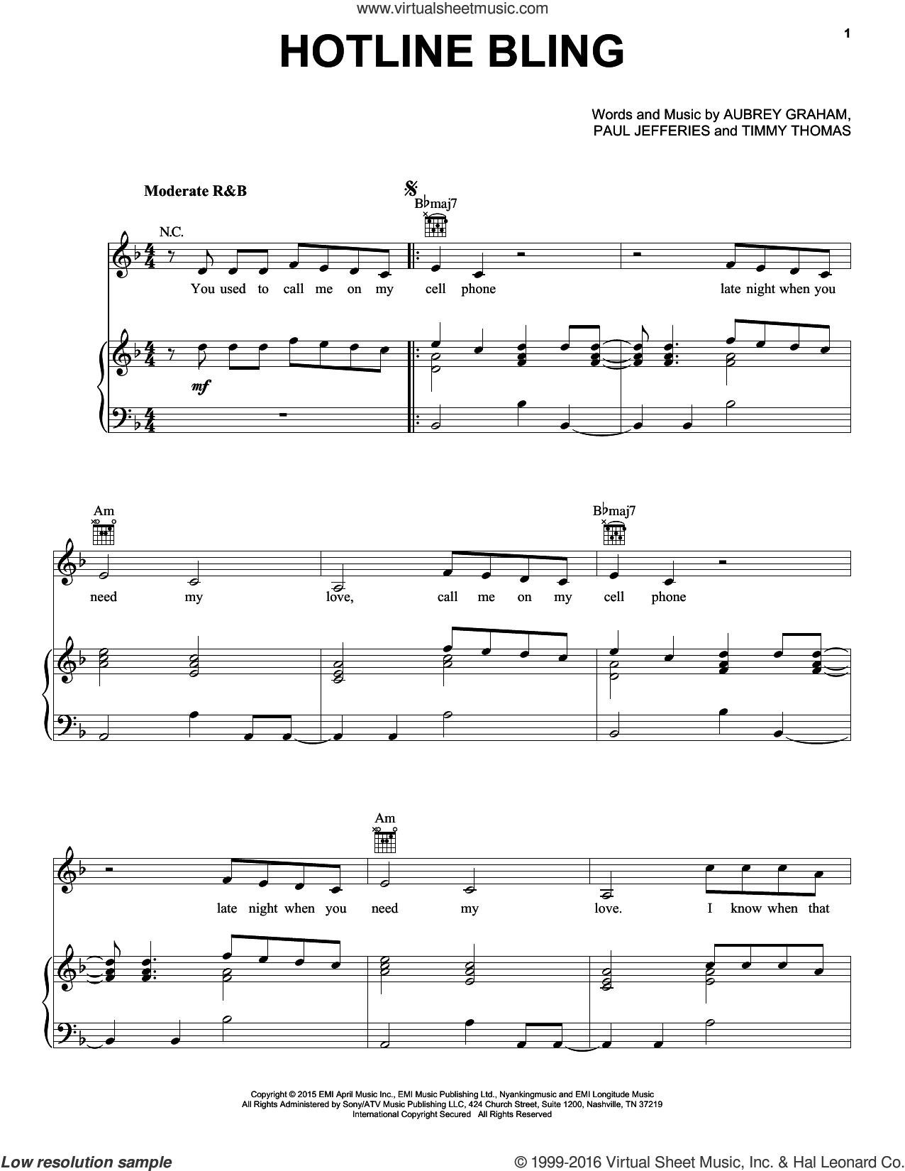 Hotline Bling sheet music for voice, piano or guitar by Drake, Aubrey Graham, Paul Jefferies and Timmy Thomas, intermediate skill level
